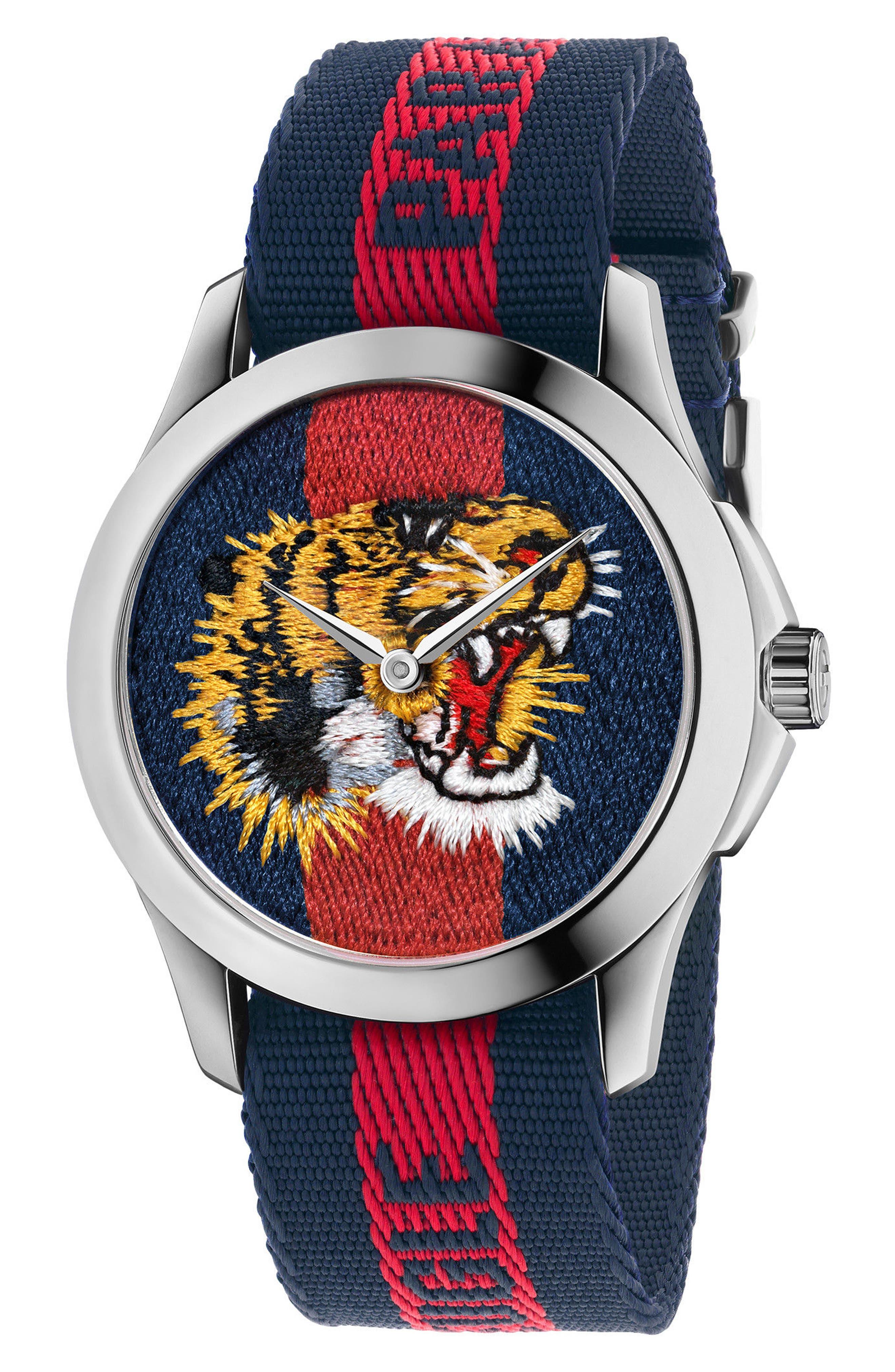 Alternate Image 1 Selected - Gucci Le Marché Des Merveilles Nylon Strap Watch, 38mm