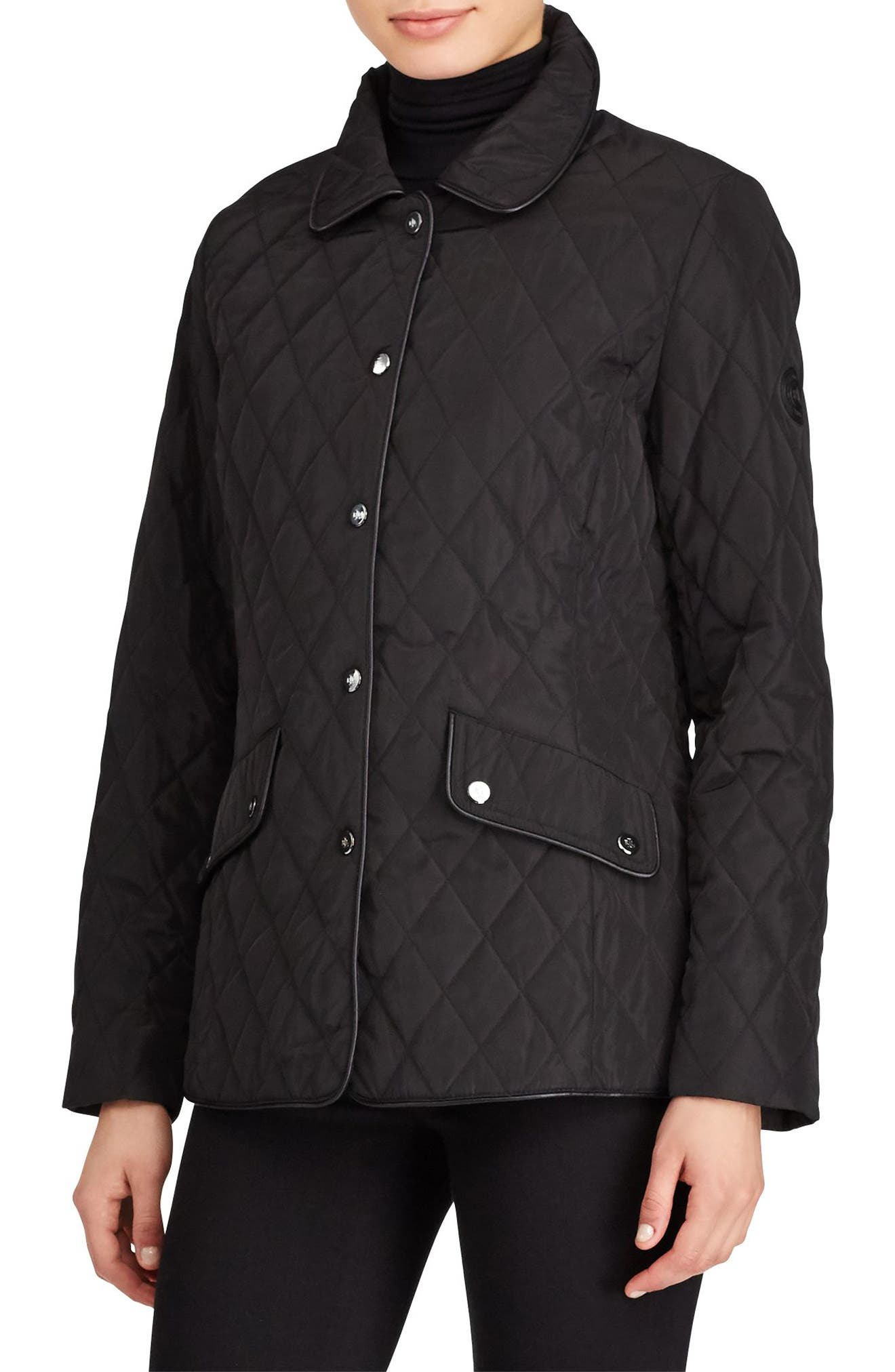 Main Image - Lauren Ralph Lauren Faux Leather Trim Quilted Jacket (Regular & Petite)