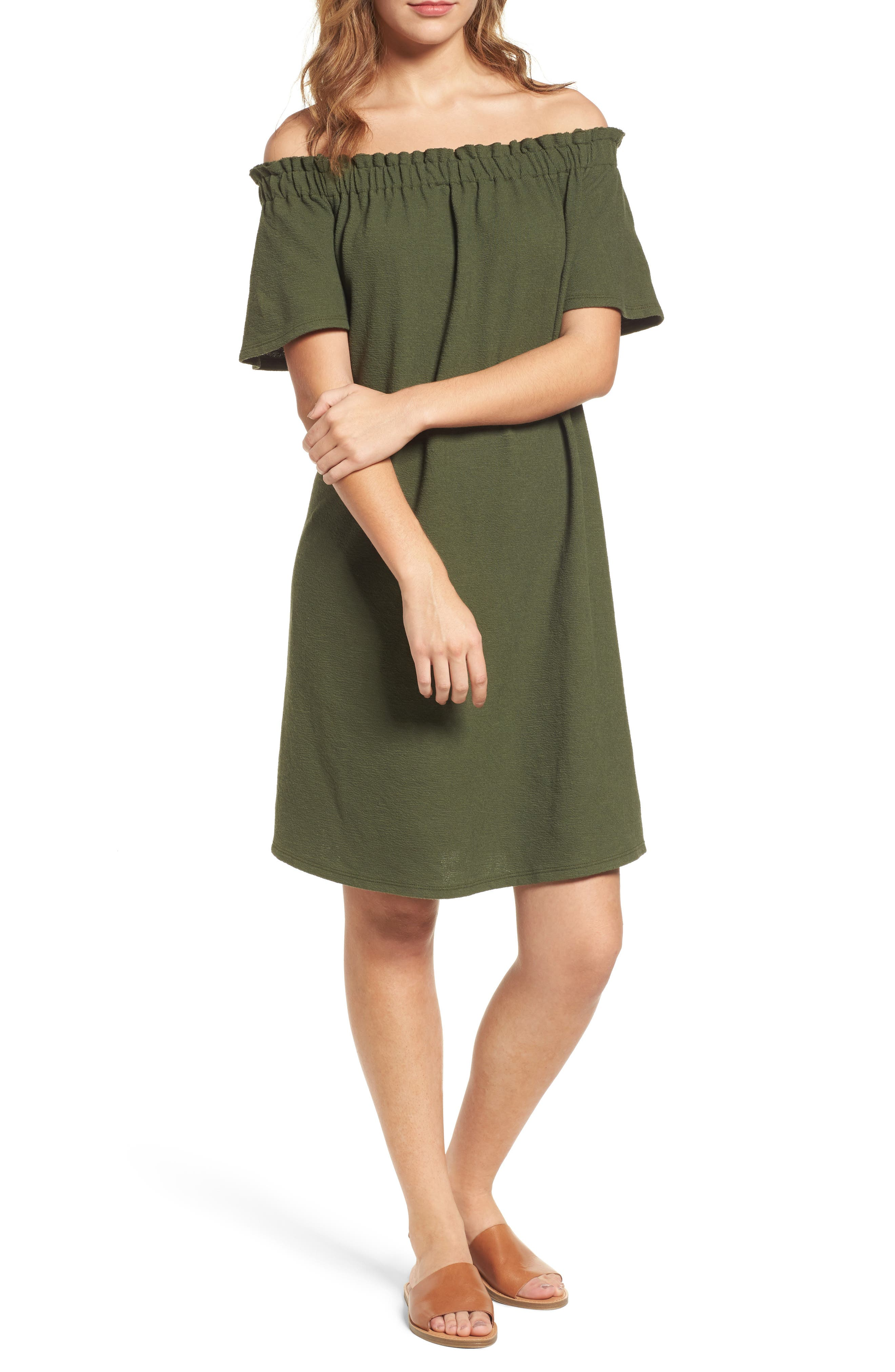 Caslon® Off the Shoulder Slub Knit Shift Dress (Regular & Petite)