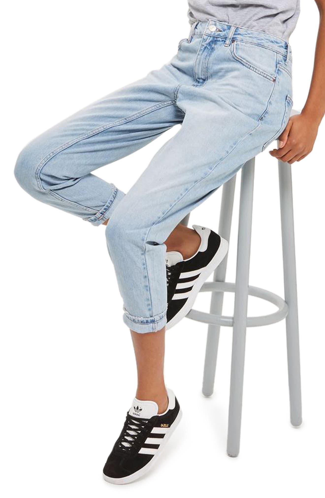 Alternate Image 1 Selected - Topshop Mom Jeans (Petite)