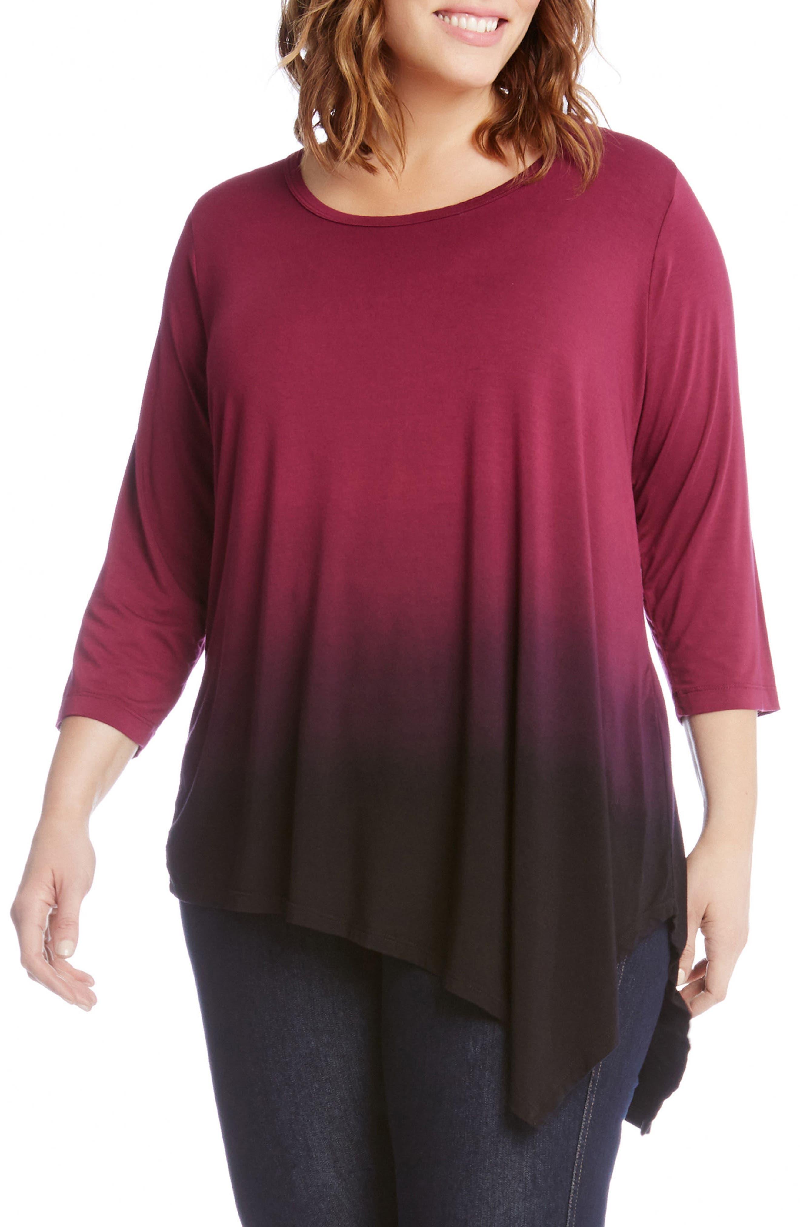 Karen Kane Asymmetrical Dip Dye Top (Plus Size)