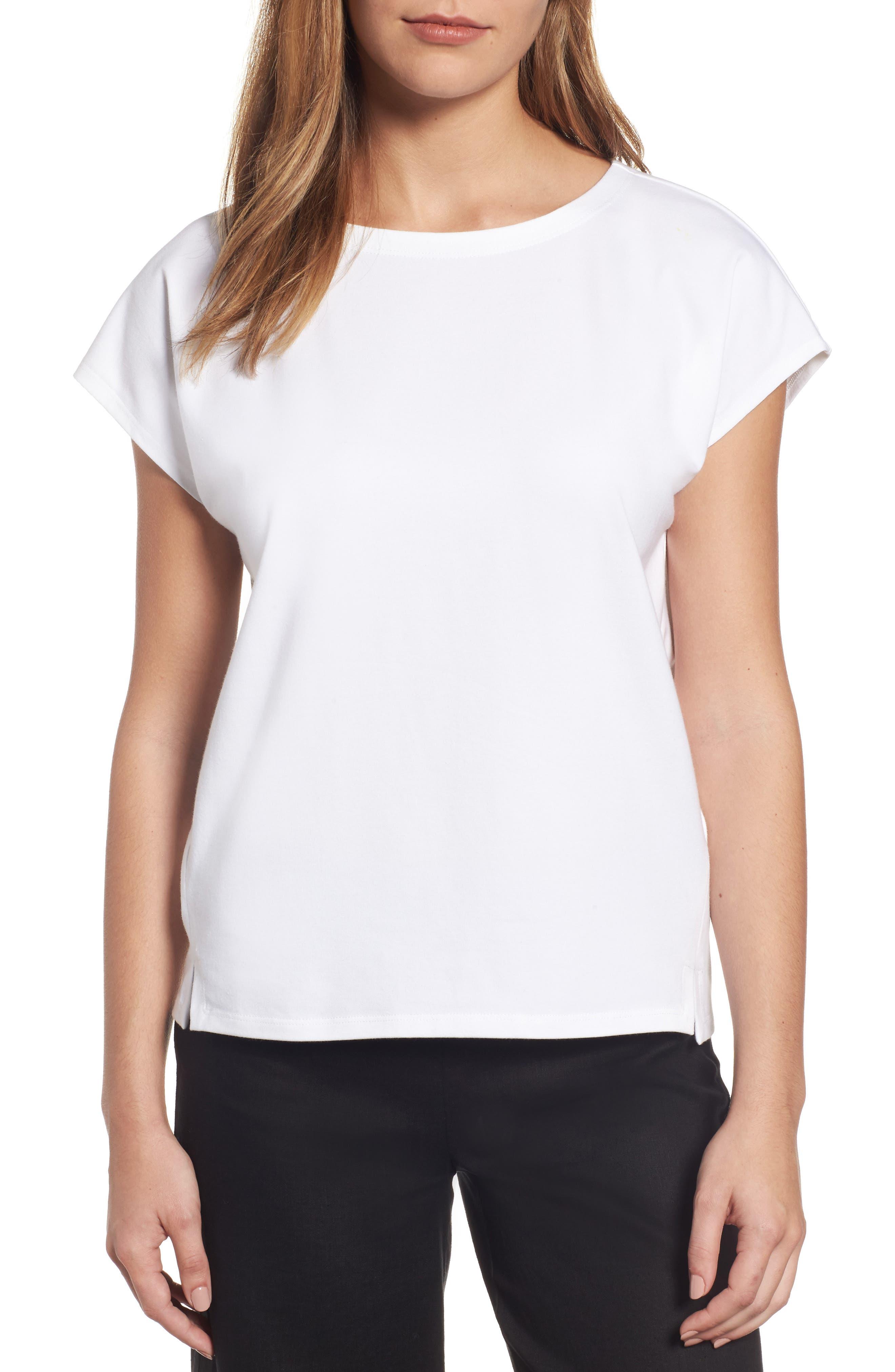 Eileen Fisher Stretch Organic Cotton Jersey Top (Regular & Petite)
