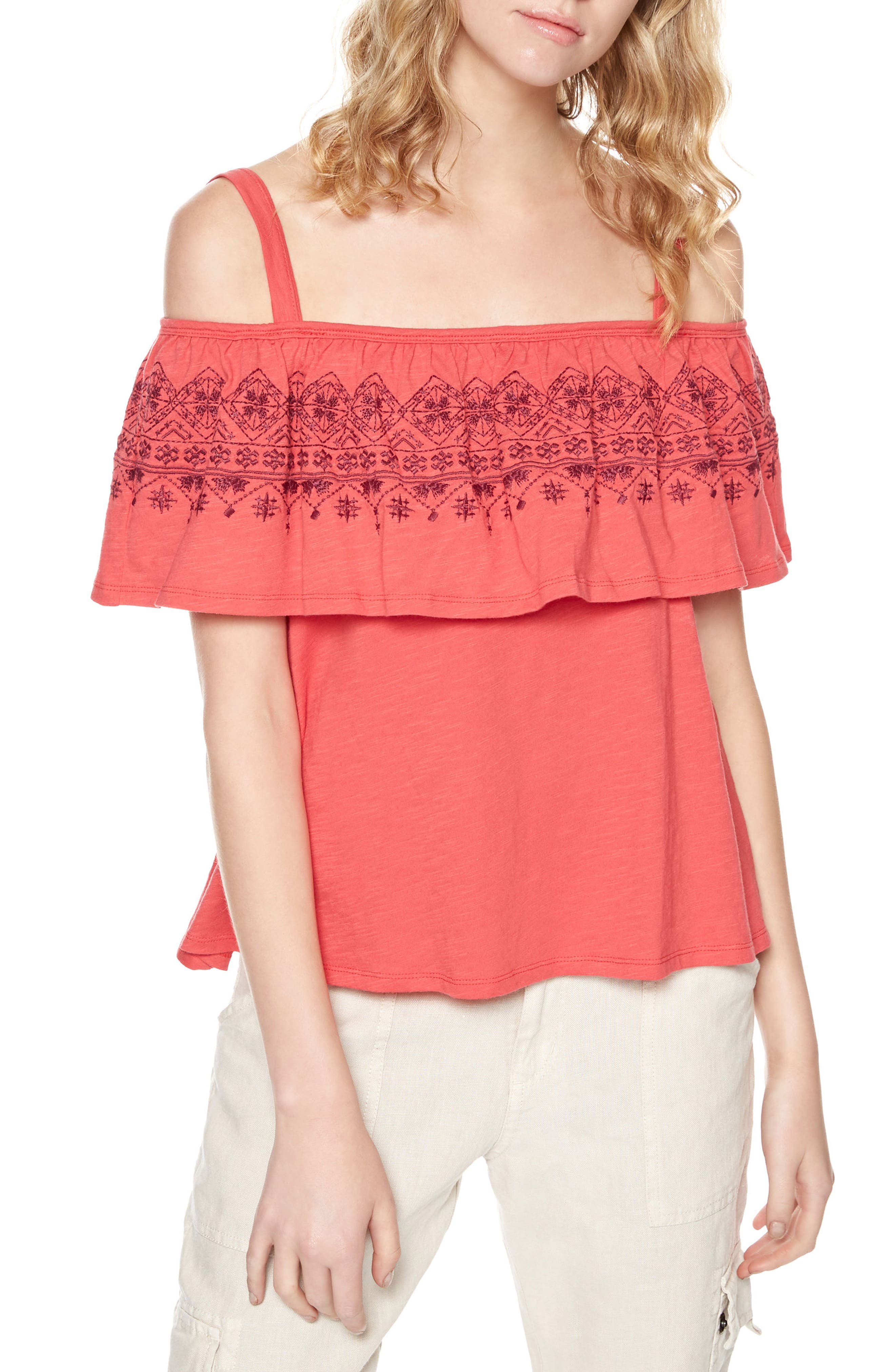 Sanctuary Helena Off the Shoulder Ruffle Top