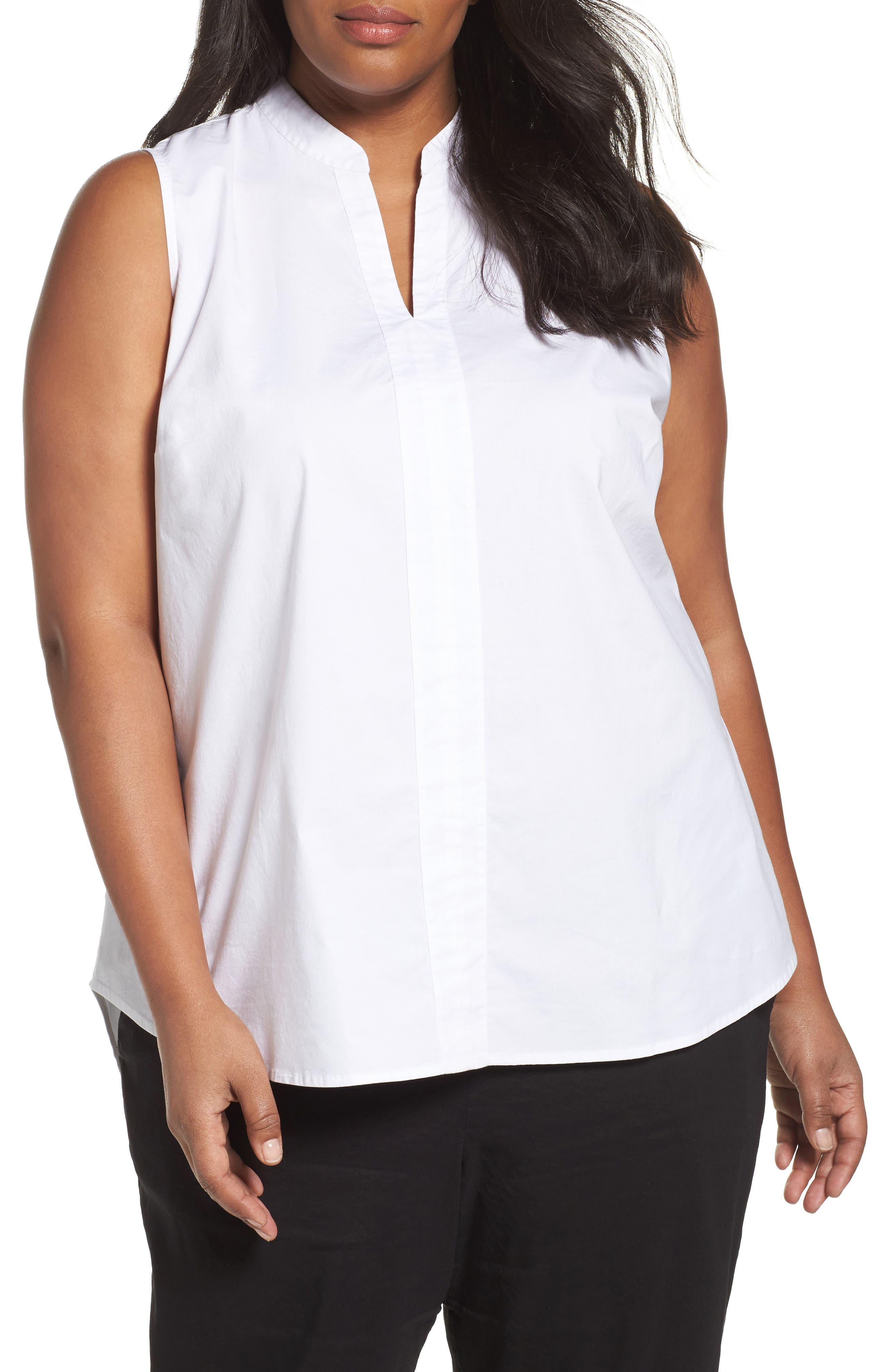 Eileen Fisher Organic Cotton Poplin Shirt (Plus Size)