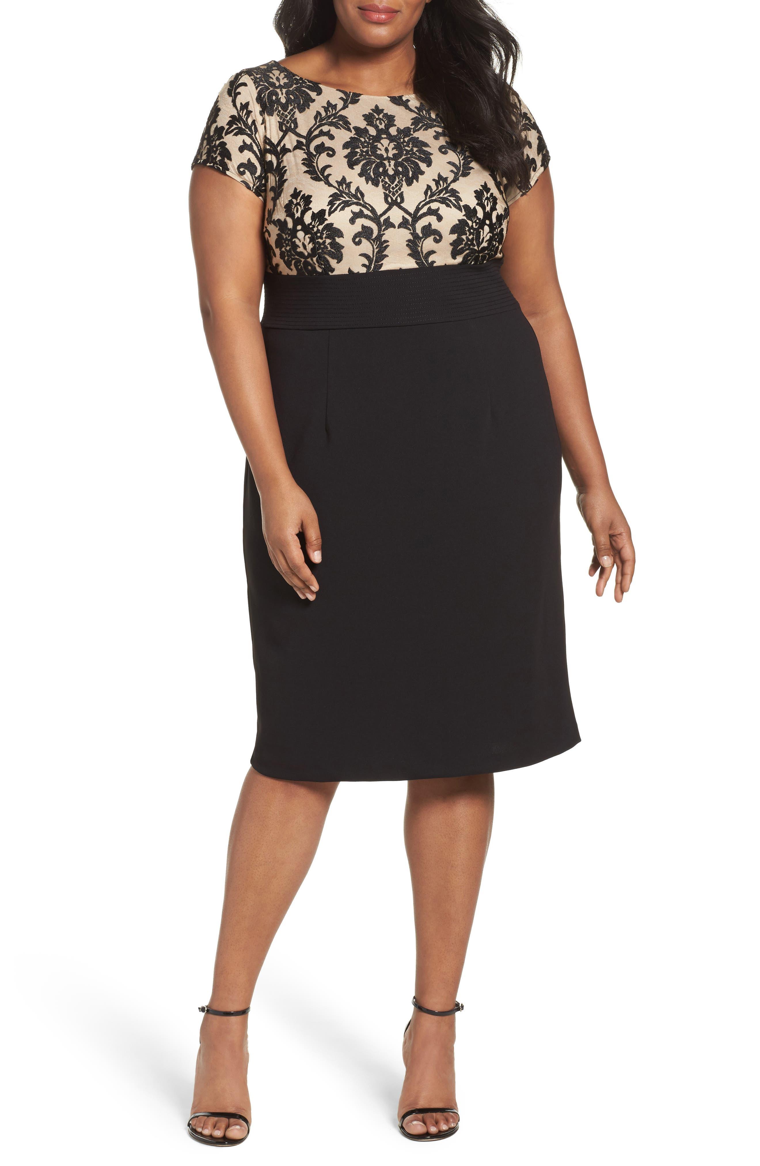 Adrianna Papell Illusion Lace Sheath Dress (Plus Size)