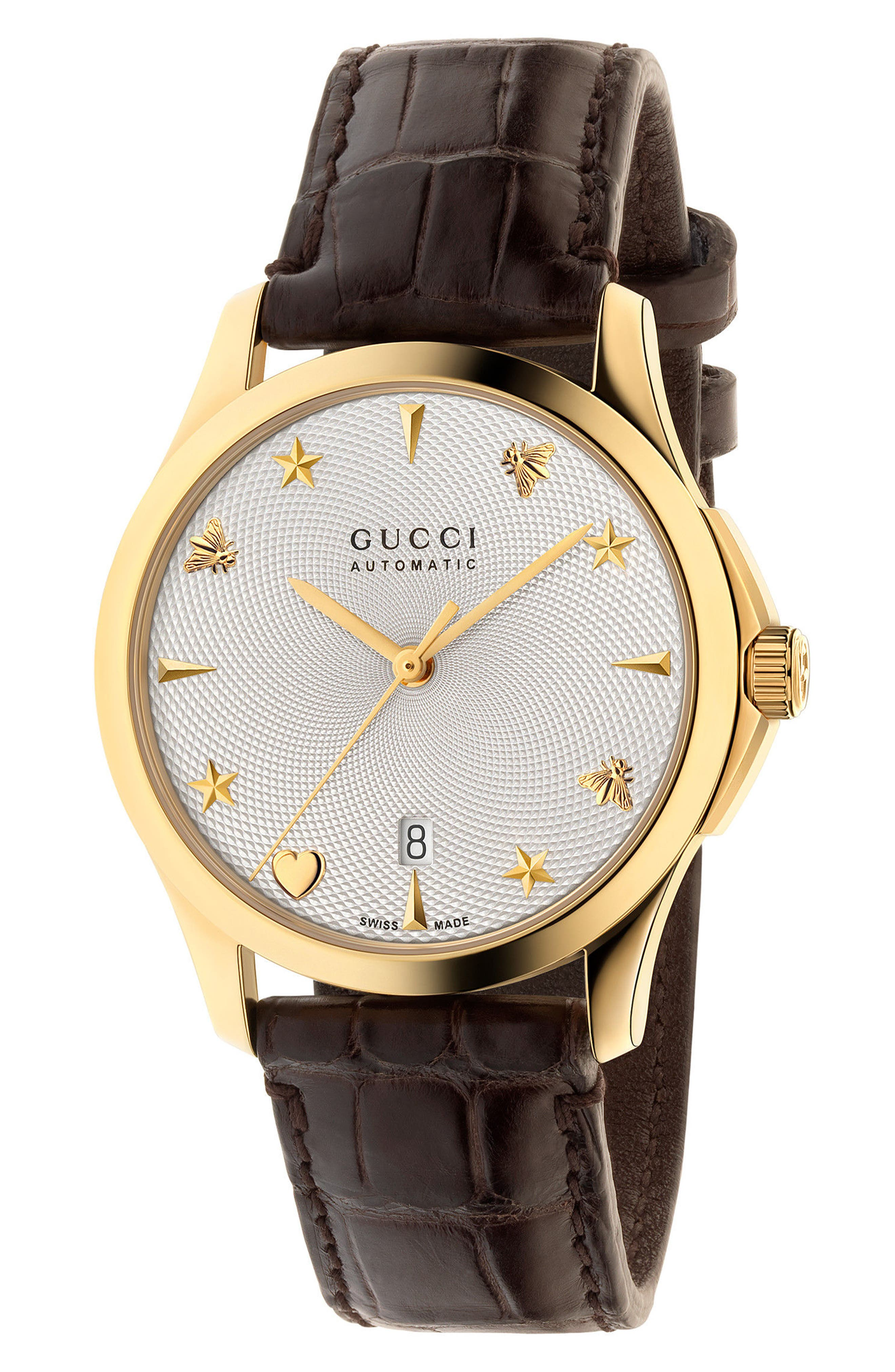 Gucci G-Timeless Automatic Leather Strap Watch, 38mm