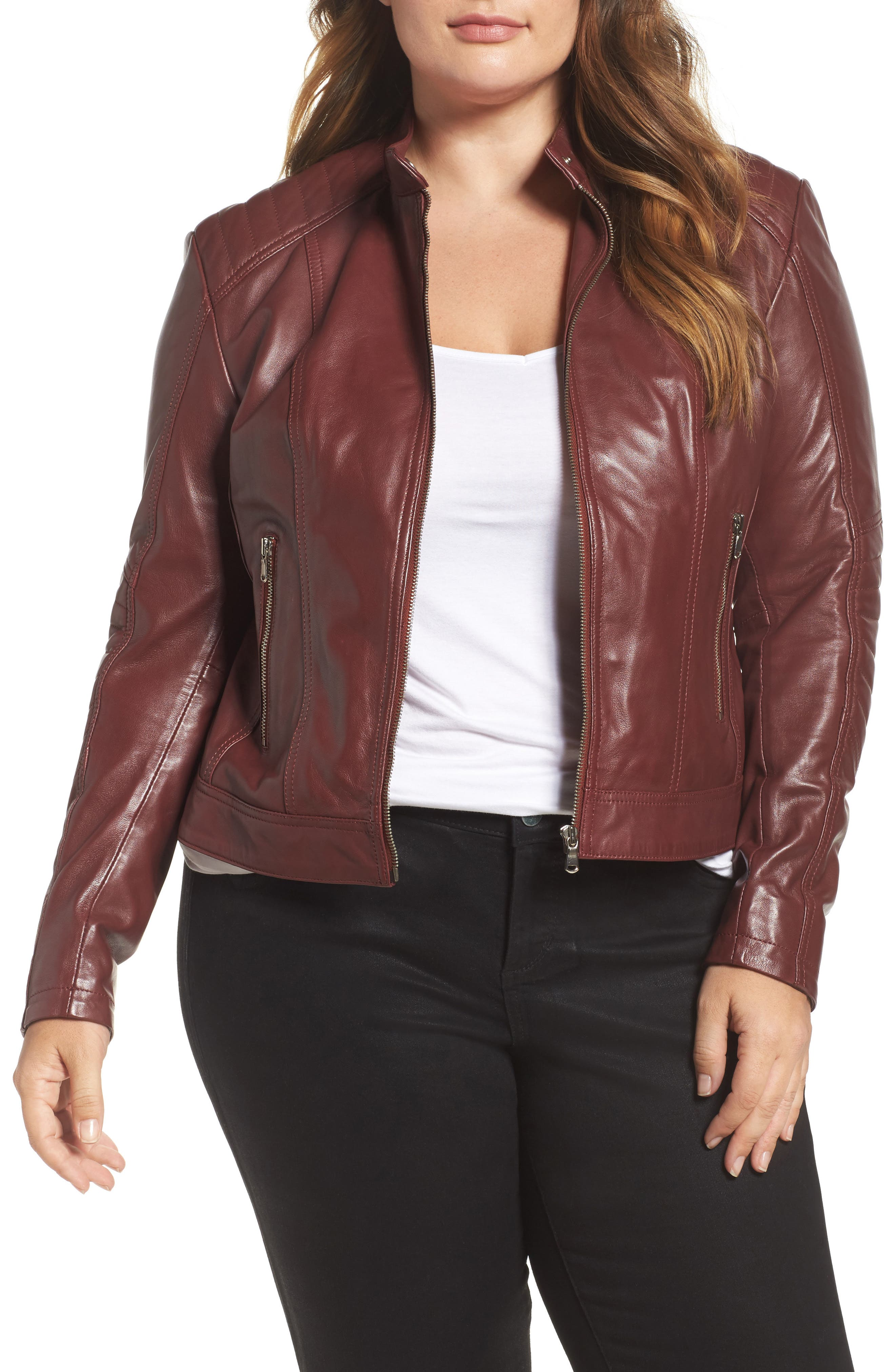 SLINK Jeans Leather Moto Jacket (Plus Size)