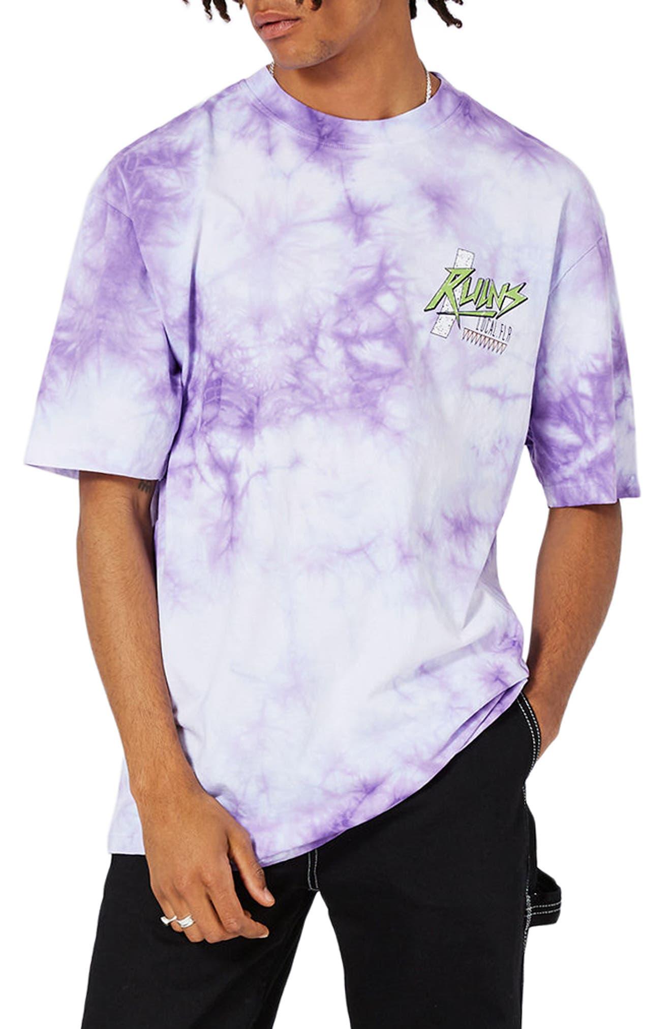 Topman Oversize Tie Dye Ruins Graphic T-Shirt