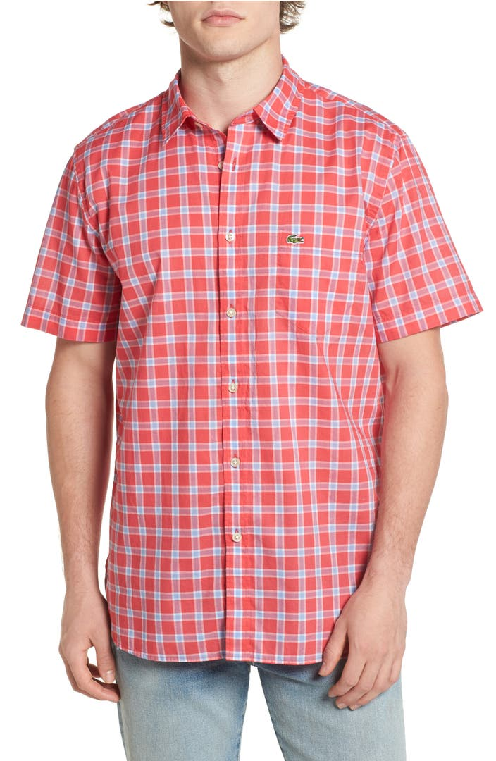 Lacoste check poplin shirt nordstrom for What is a poplin shirt