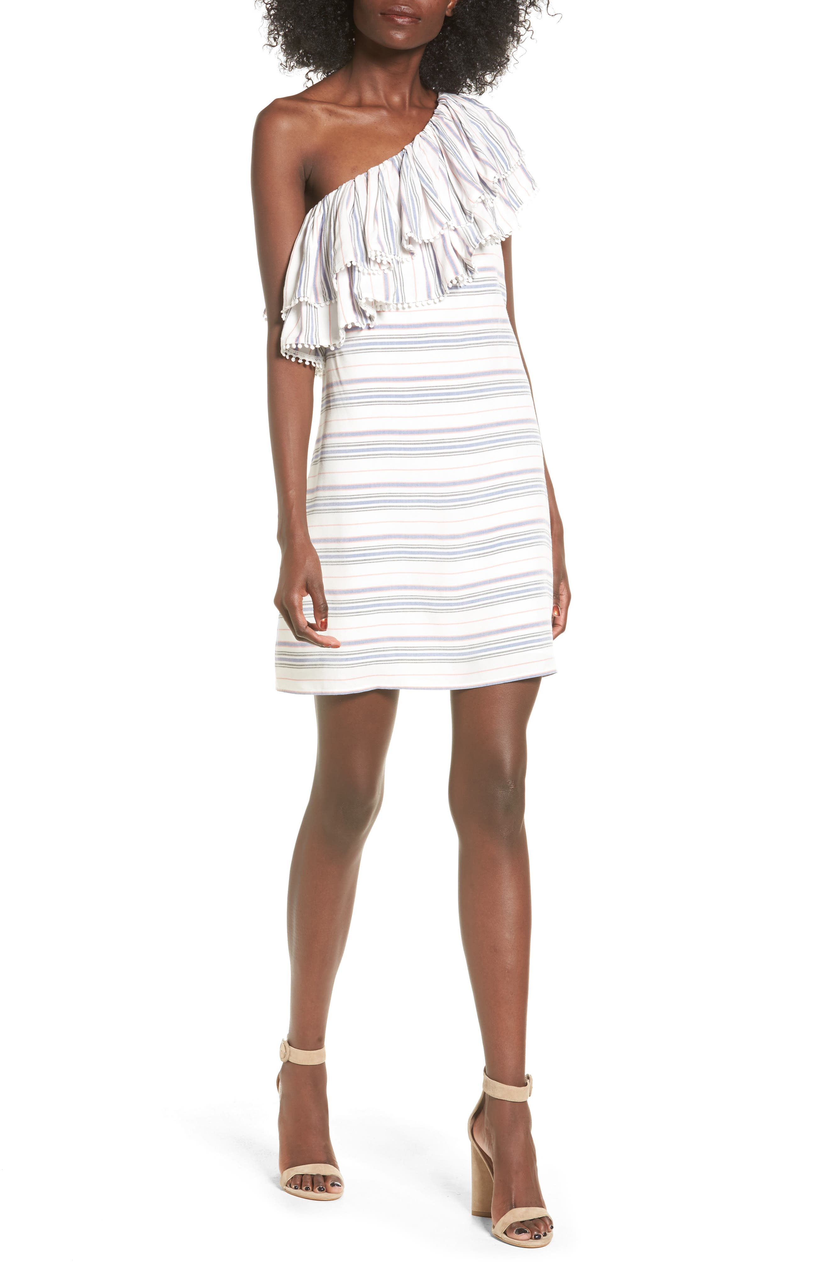 devlin Tyra One-Shoulder Stripe Dress