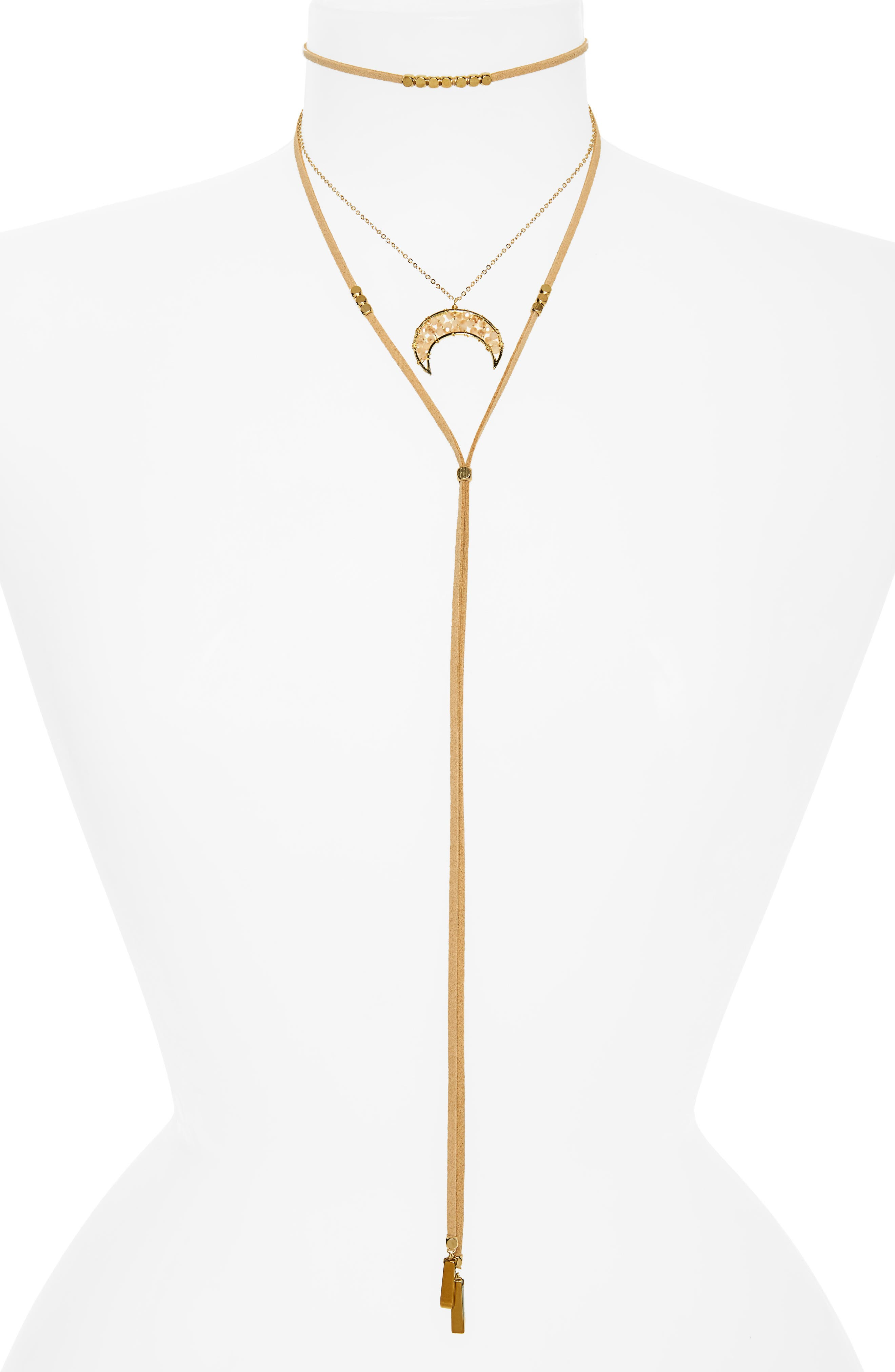 Panacea Beaded Horn Multistrand Lariat Necklace