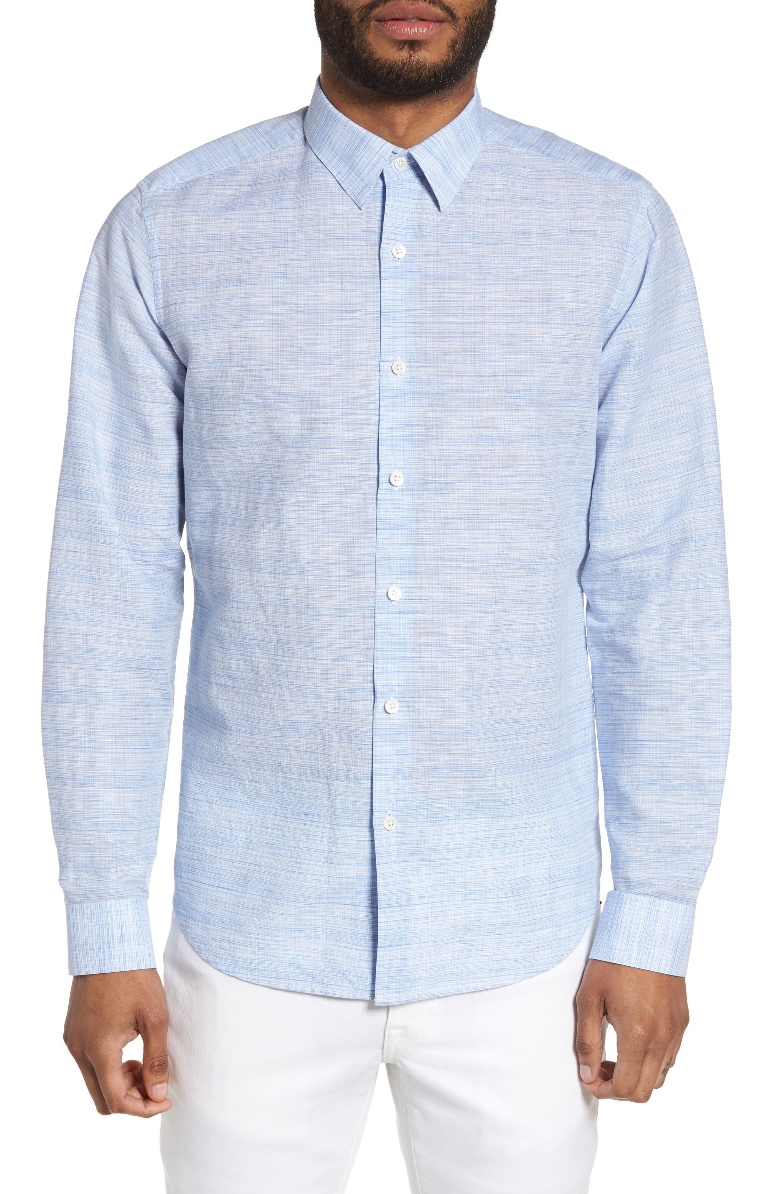 Theory Sylvain Dashed Trim Fit Linen Blend Sport Shirt