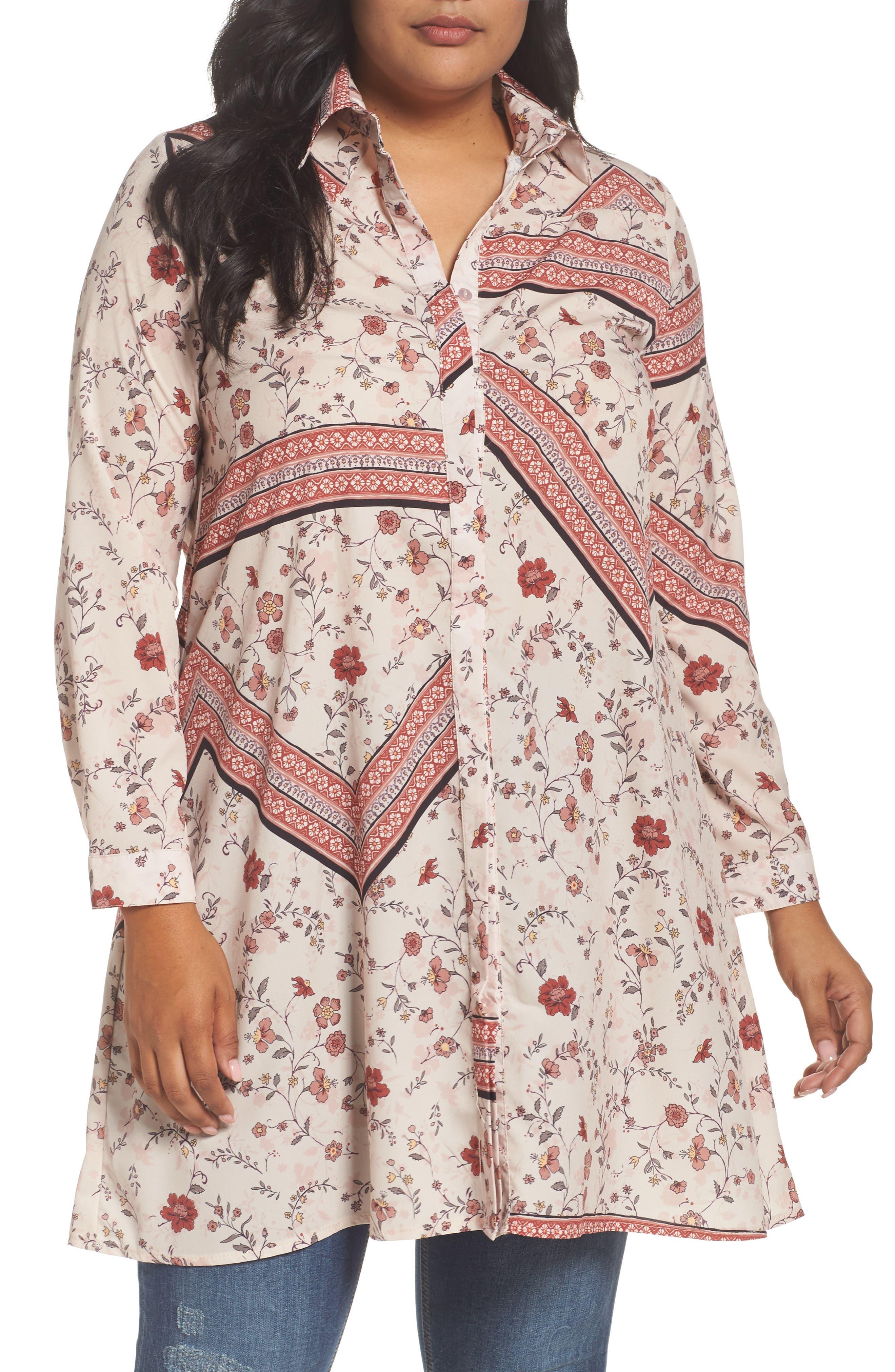 Glamorous Print Shirtdress (Plus Size)