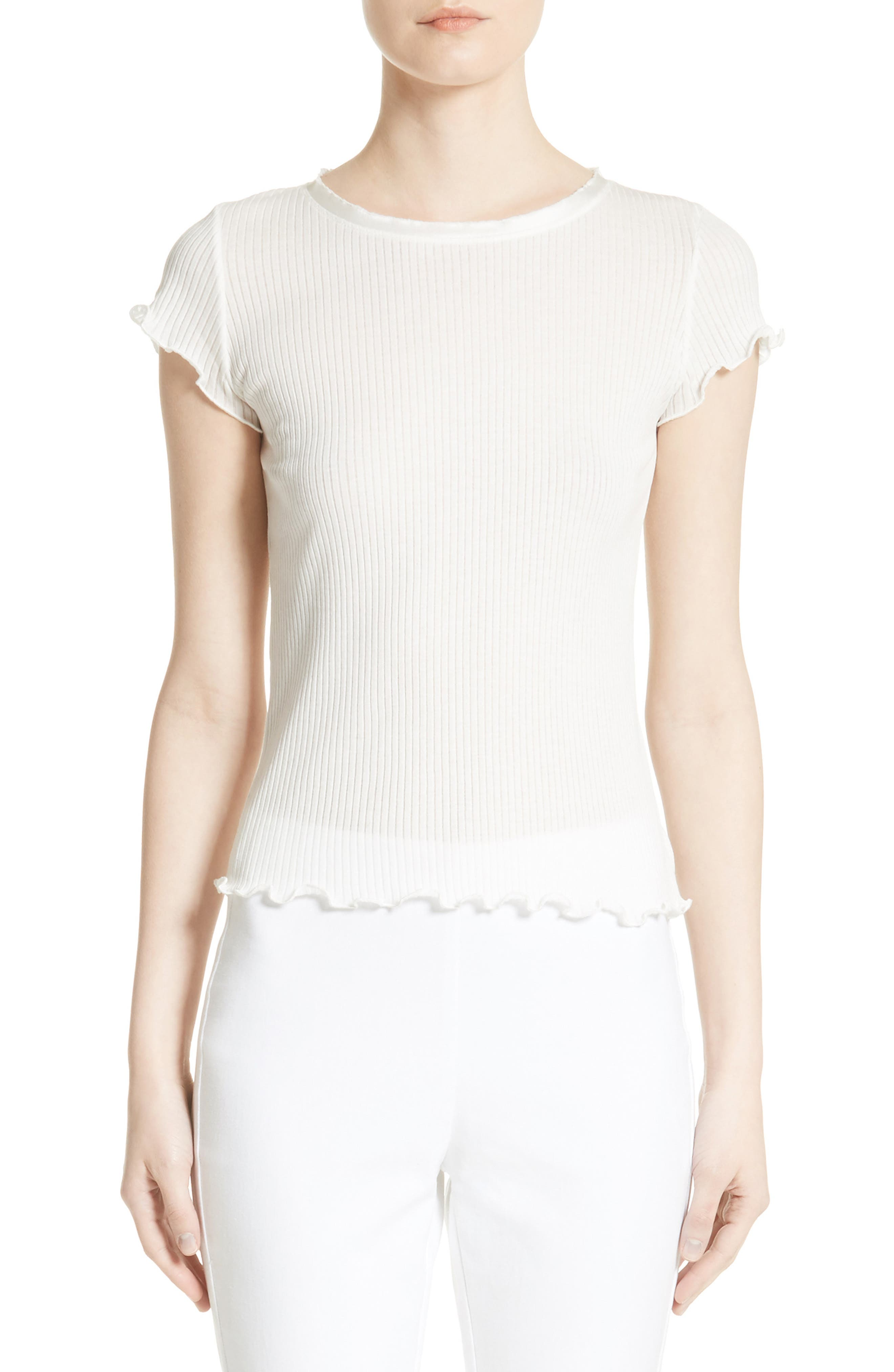 rag & bone Dillon Silk Trim Cotton Tee