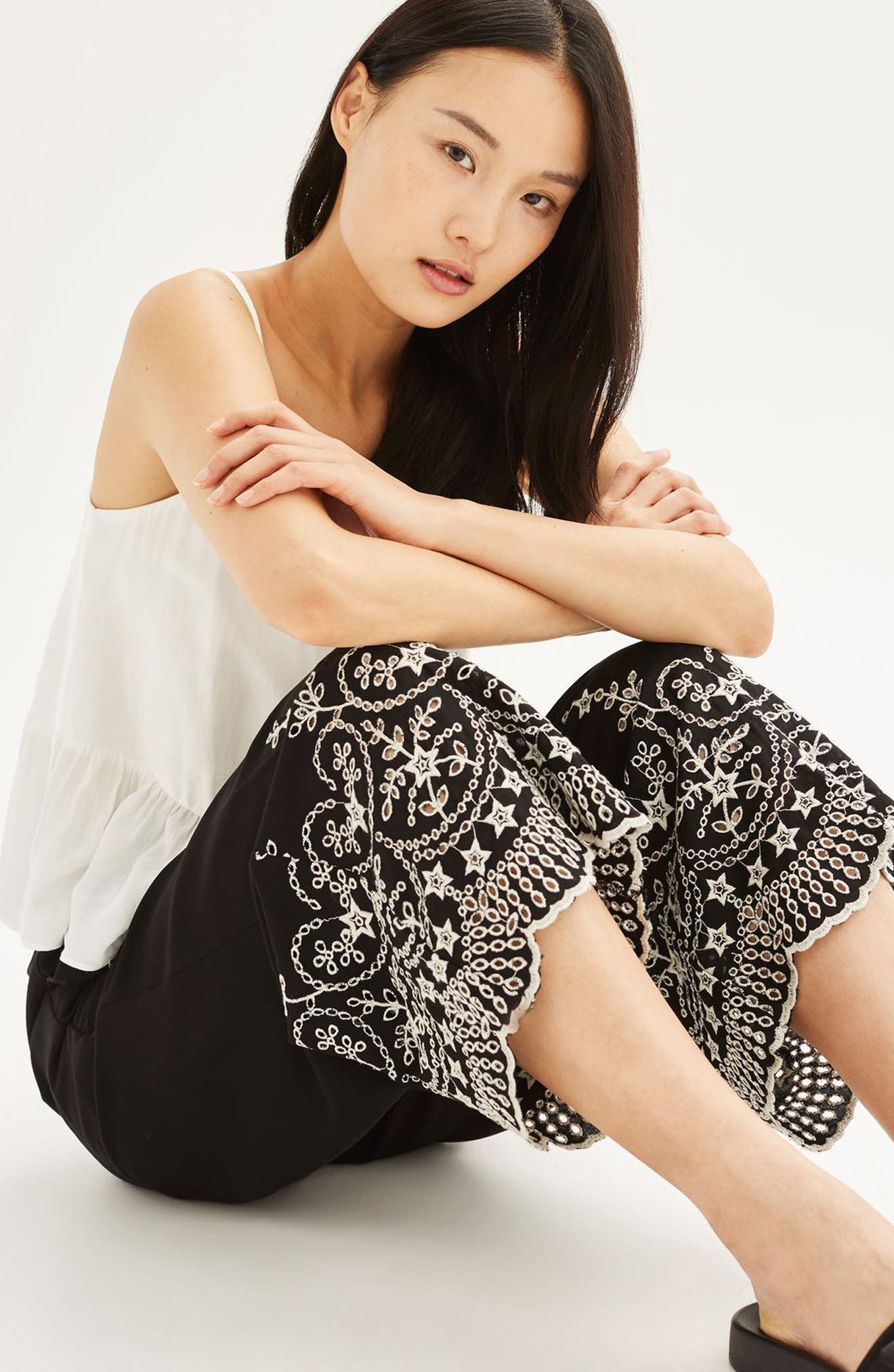 Alternate Image 2  - Topshop Embroidered Leg Trousers