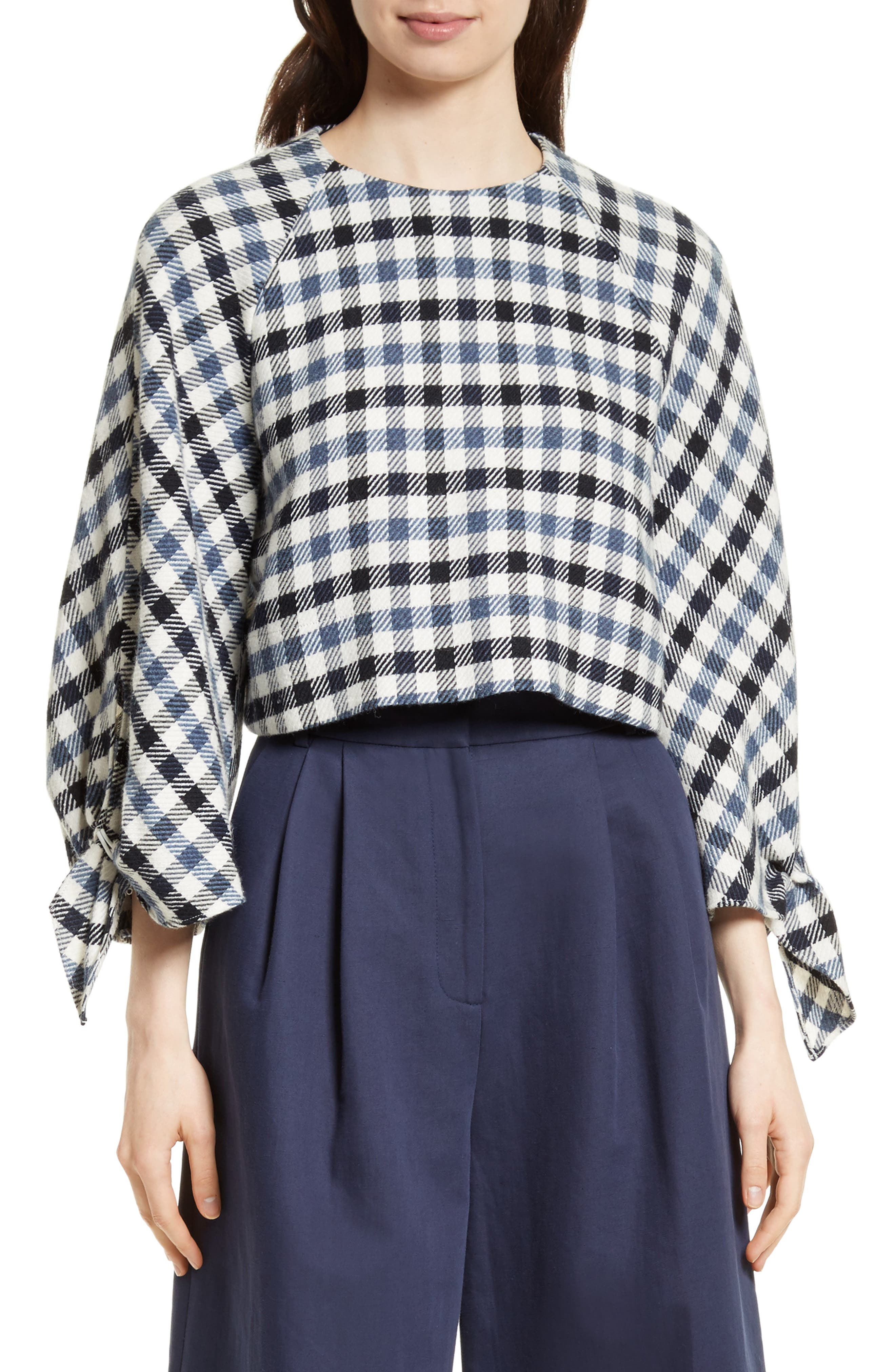 Tibi Fairfax Gingham Tie Sleeve Crop Top