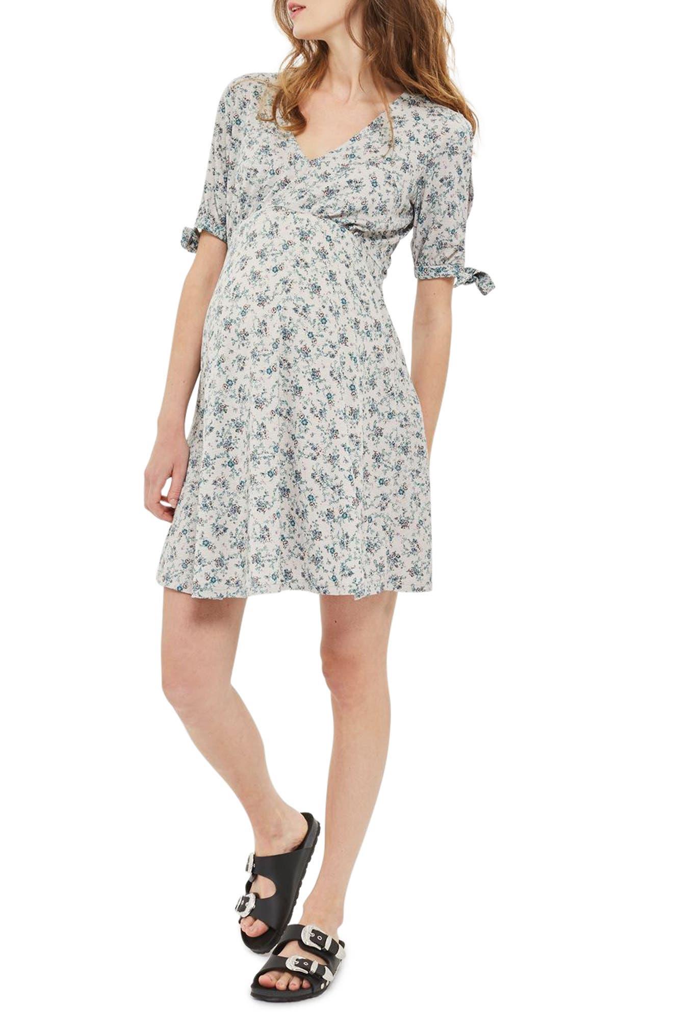 Topshop Floral Maternity Tea Dress