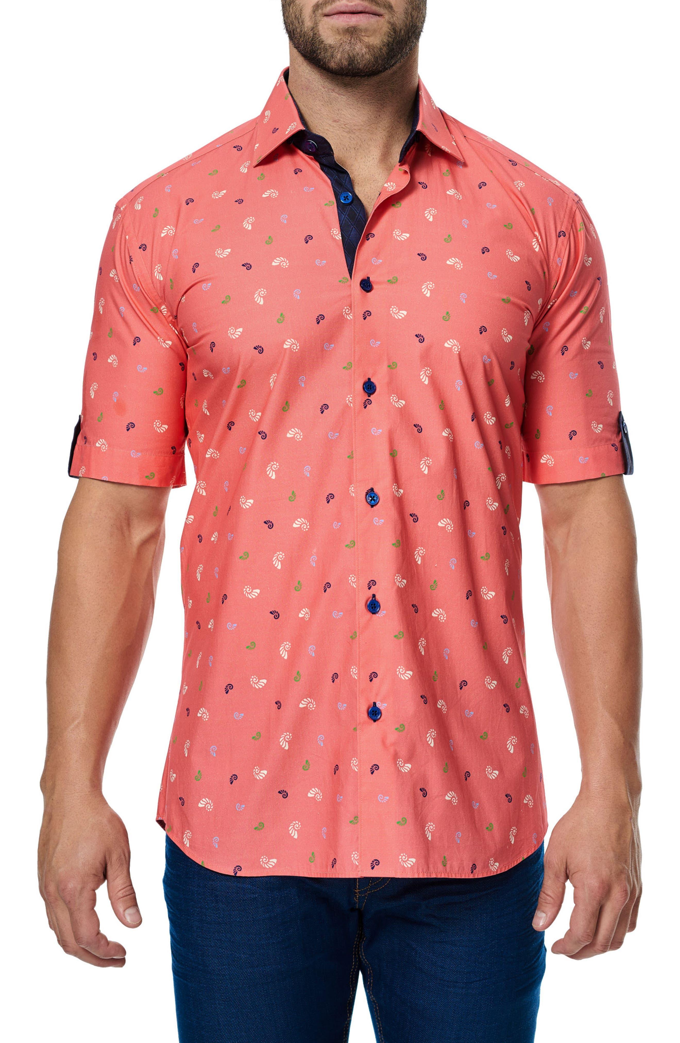Maceoo Fresh Shell Print Trim Fit Sport Shirt