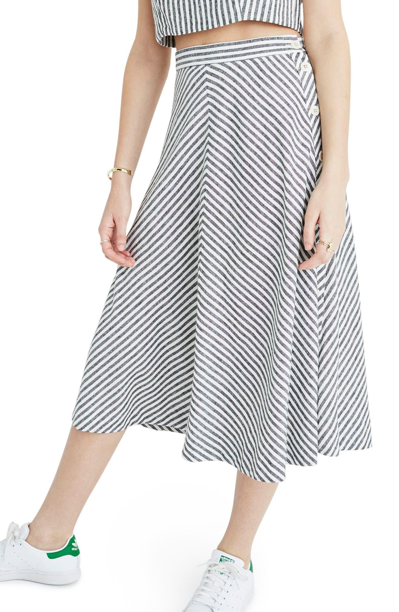 Alternate Image 3  - Madewell Stripe Side Button Midi Skirt