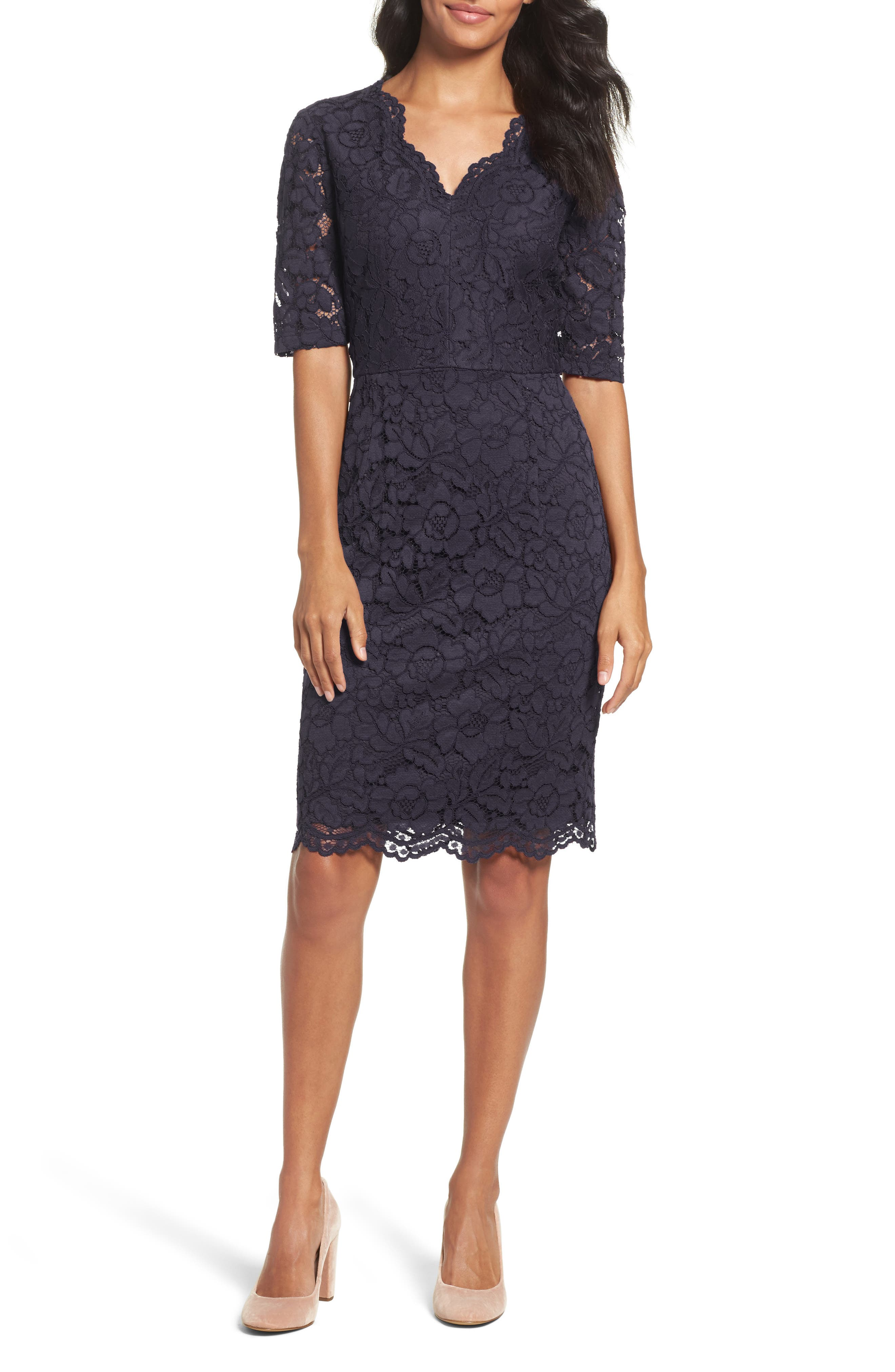 Ellen Tracy Floral Lace Sheath Dress (Regular & Petite)