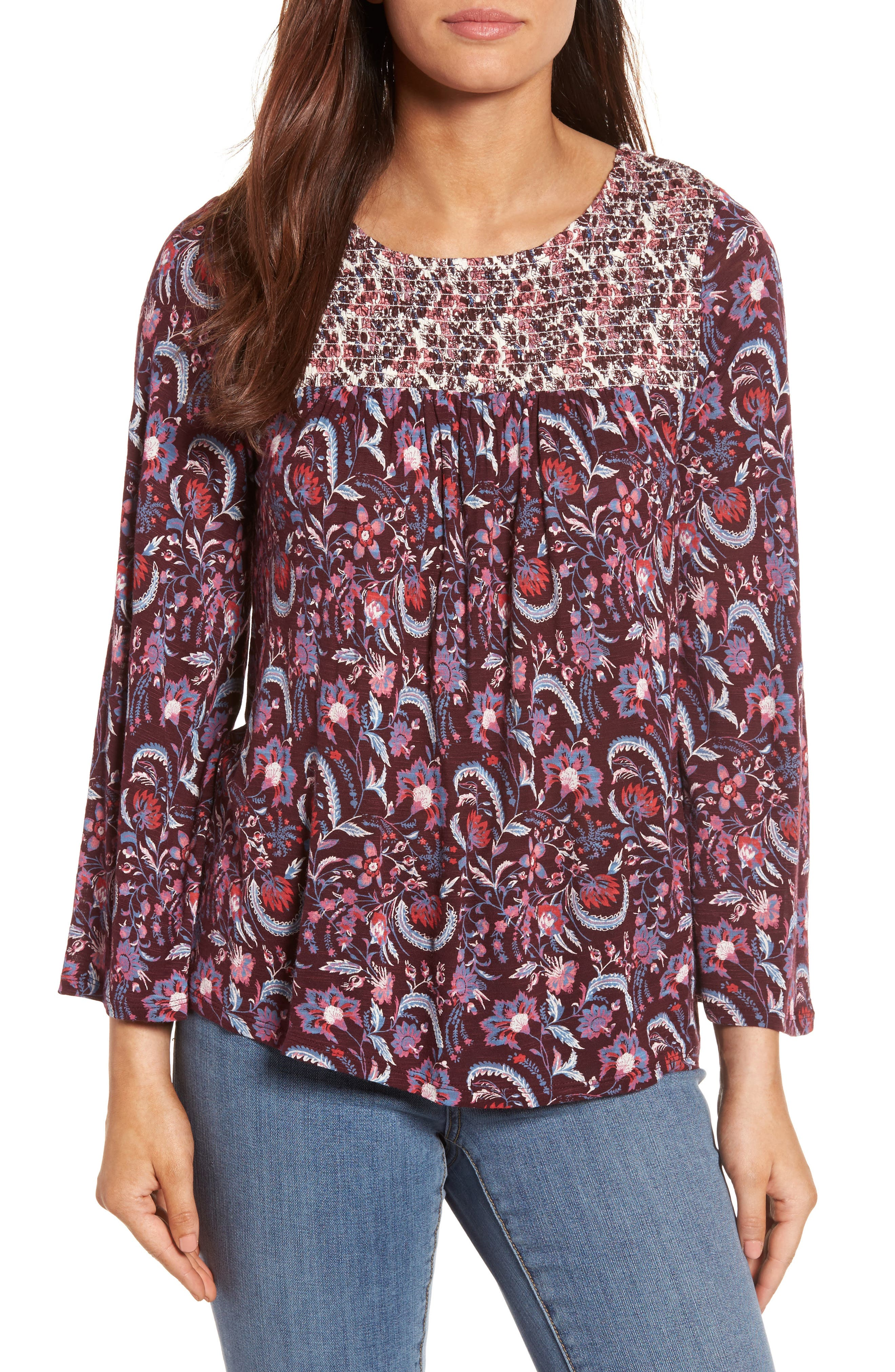 Lucky Brand Mix Print Smocked Top