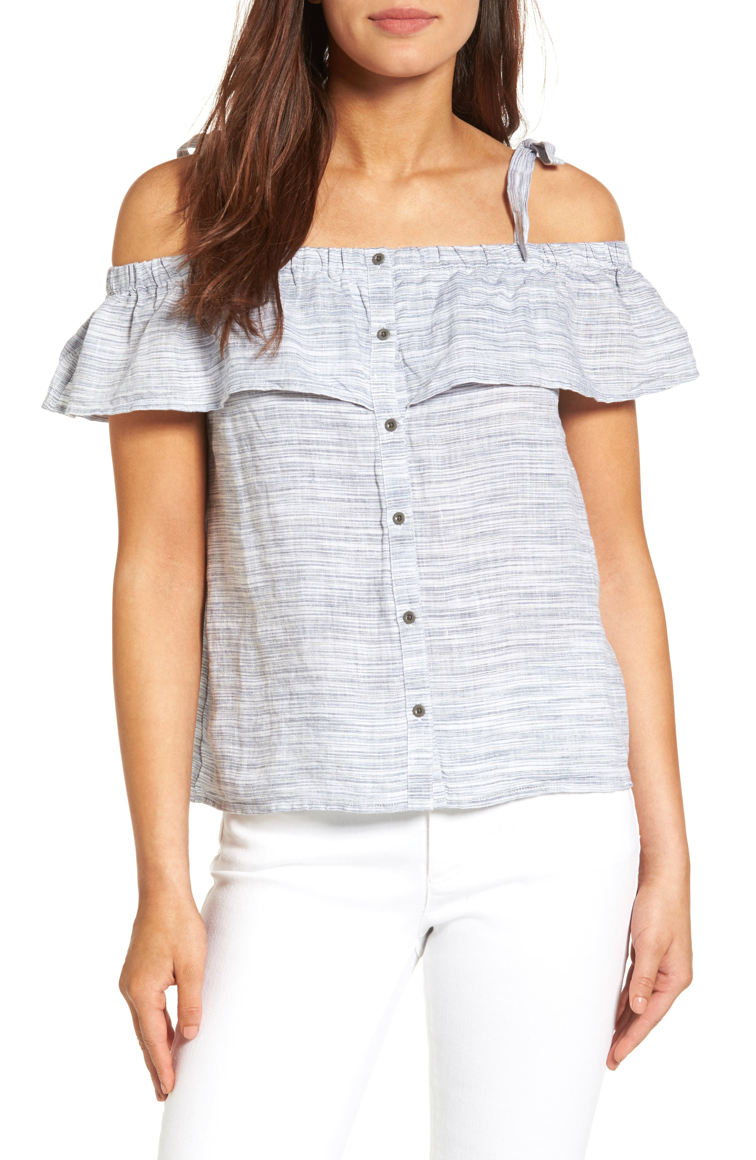 Lucky Brand Off the Shoulder Ruffled Linen Top