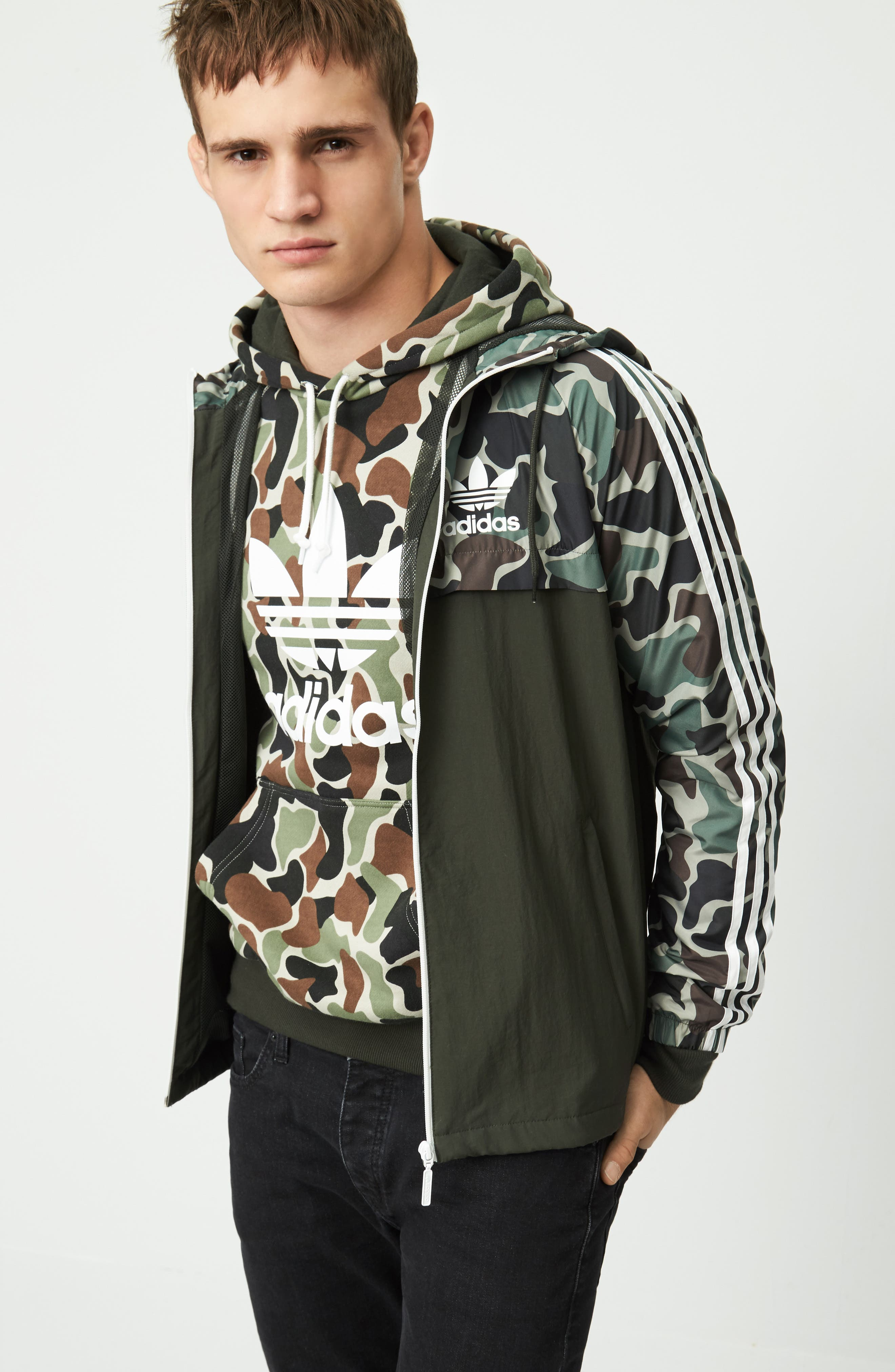 adidas Originals Windbreaker, Hoodie and Naked & Famous Denim Skinny Fit Jeans Outfit with Accessories