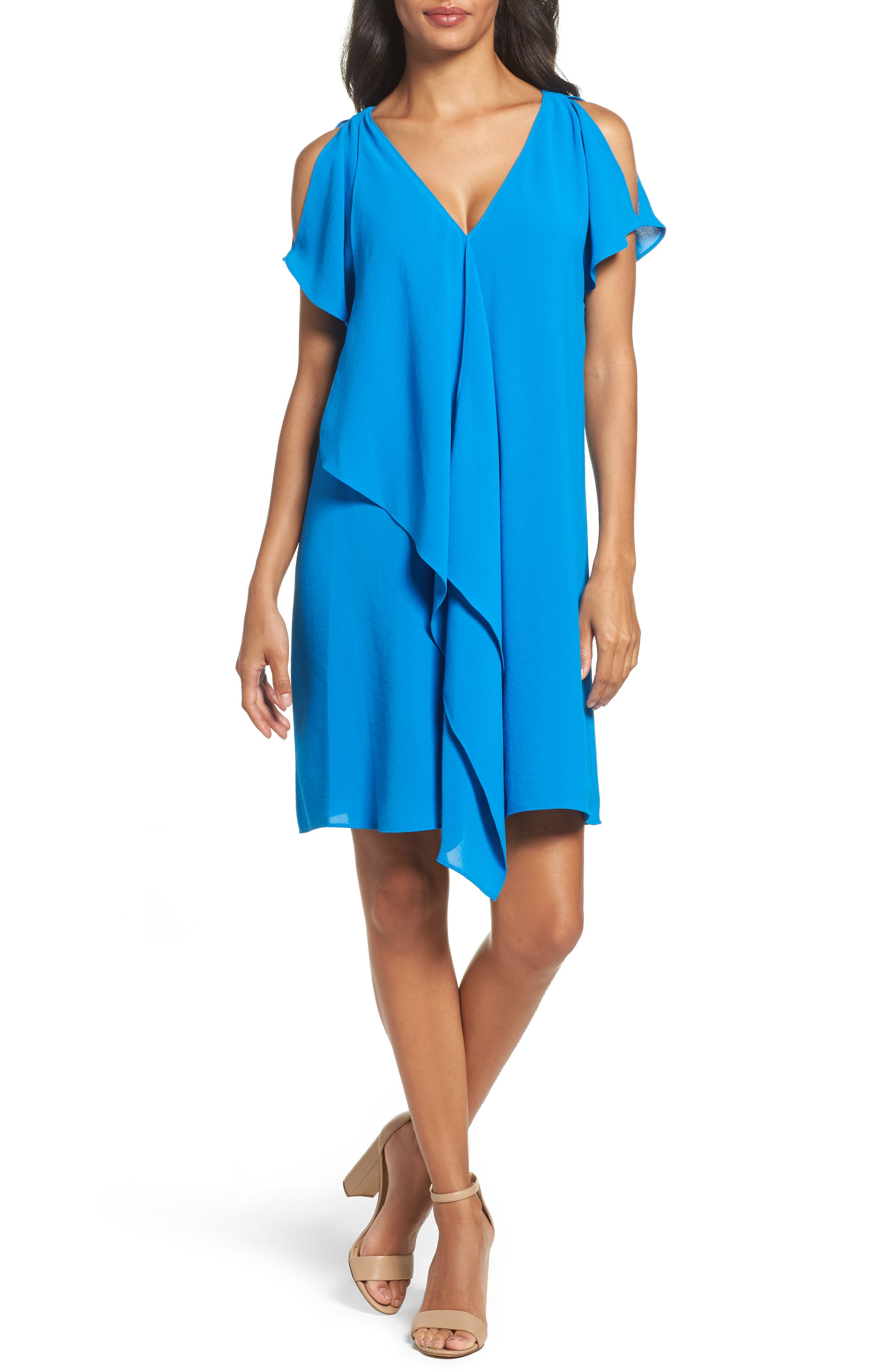 Adrianna Papell Cold Shoulder Draped Shift Dress (Regular & Petite)