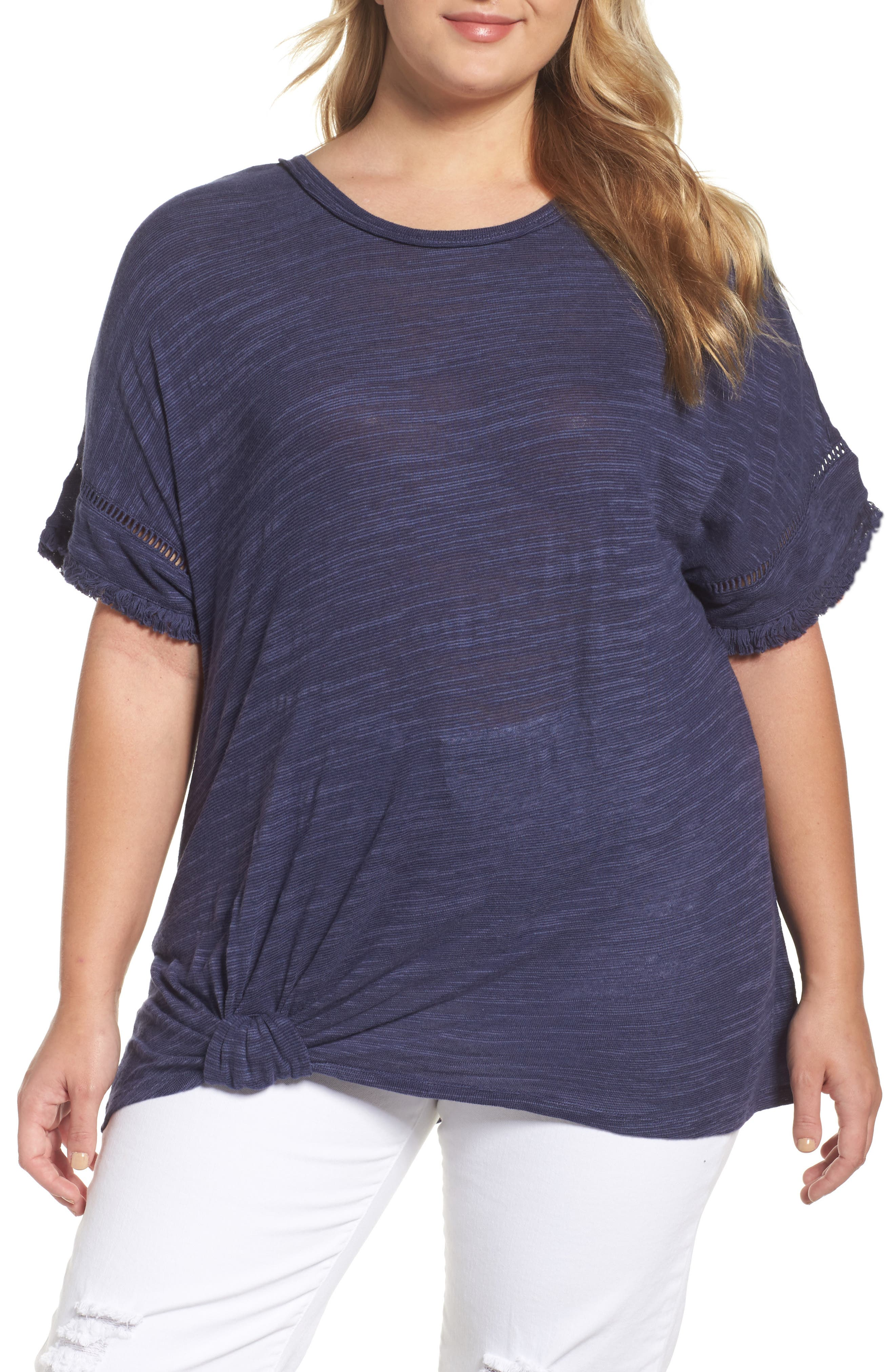 Wit & Wisdom Knot Front Tee (Plus Size) (Nordstrom Exclusive)