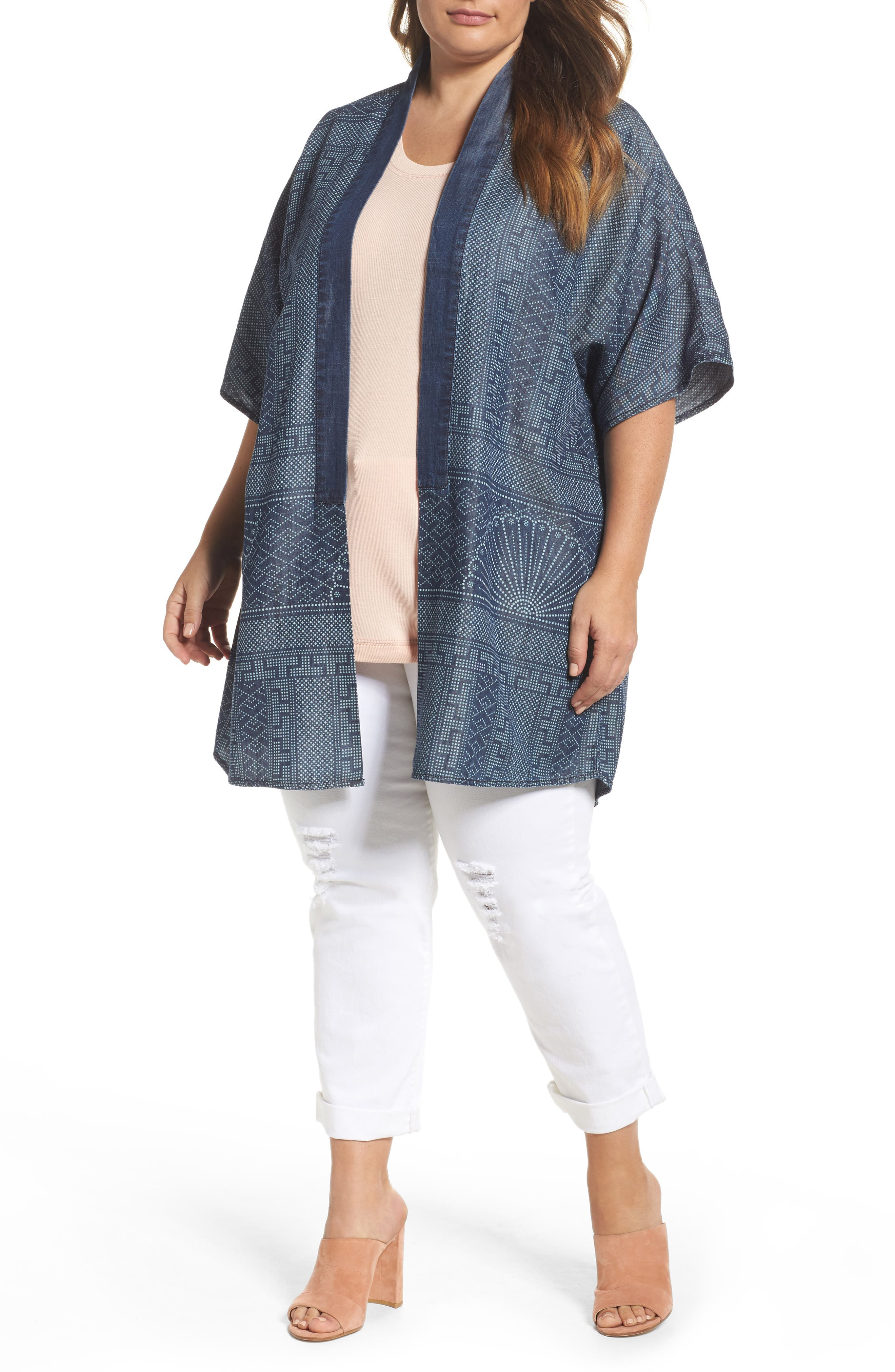 Melissa McCarthy Seven7 Print Kimono (Plus Size)
