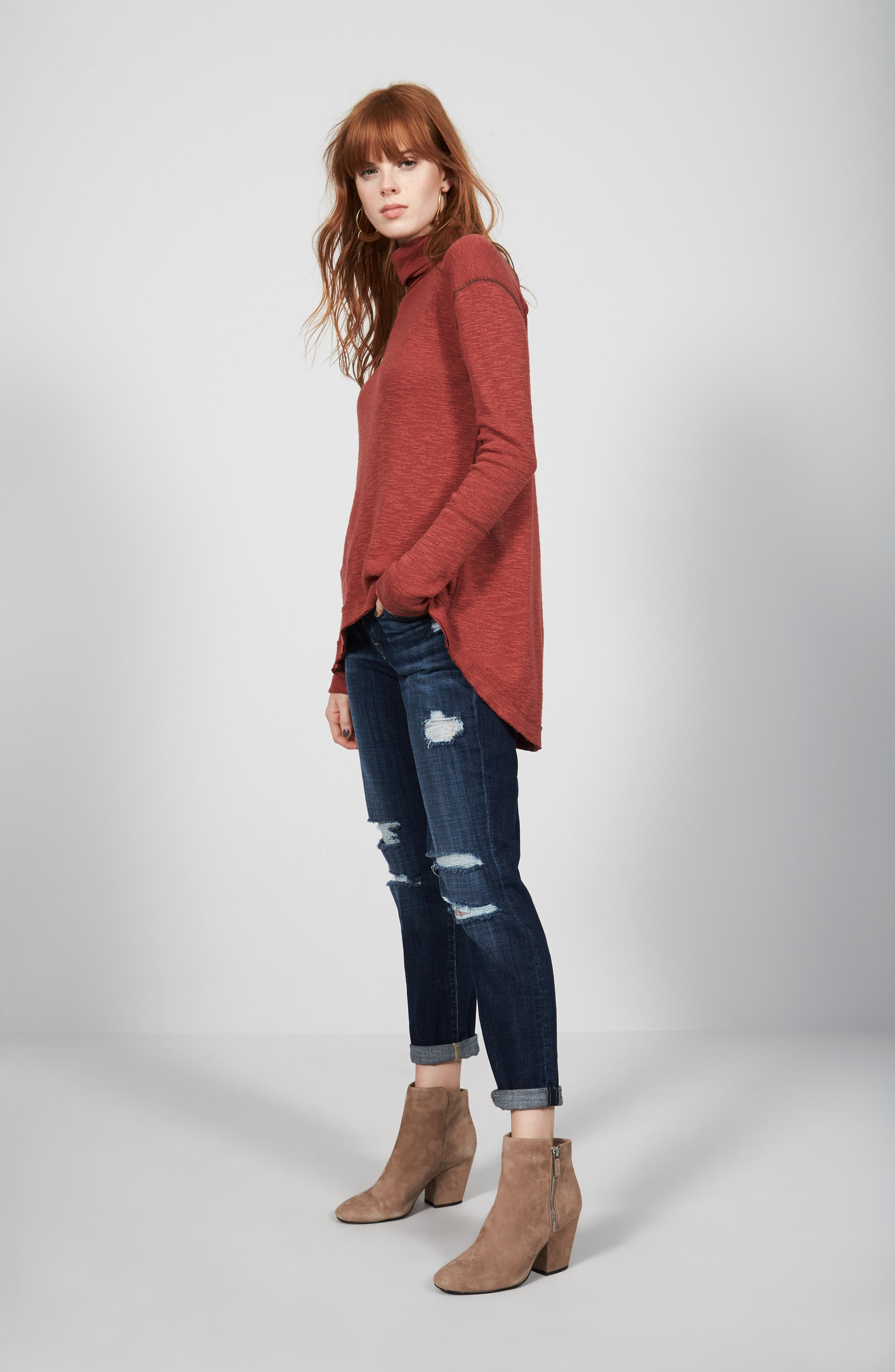 Free People Turtleneck & 7 For All Mankind® Jeans Outfit with Accessories
