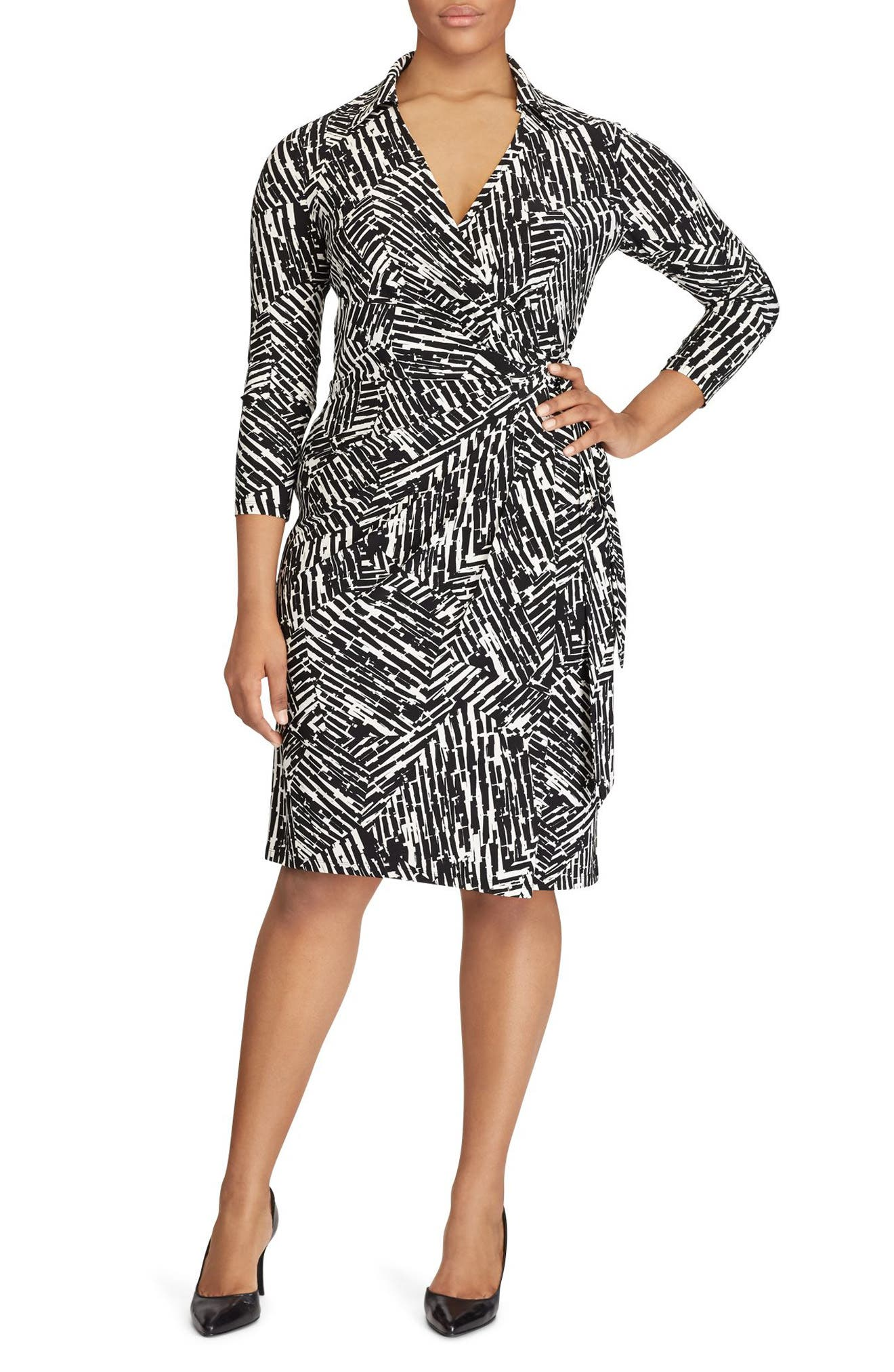Lauren Ralph Lauren Geo Print Jersey Wrap Dress (Plus Size)