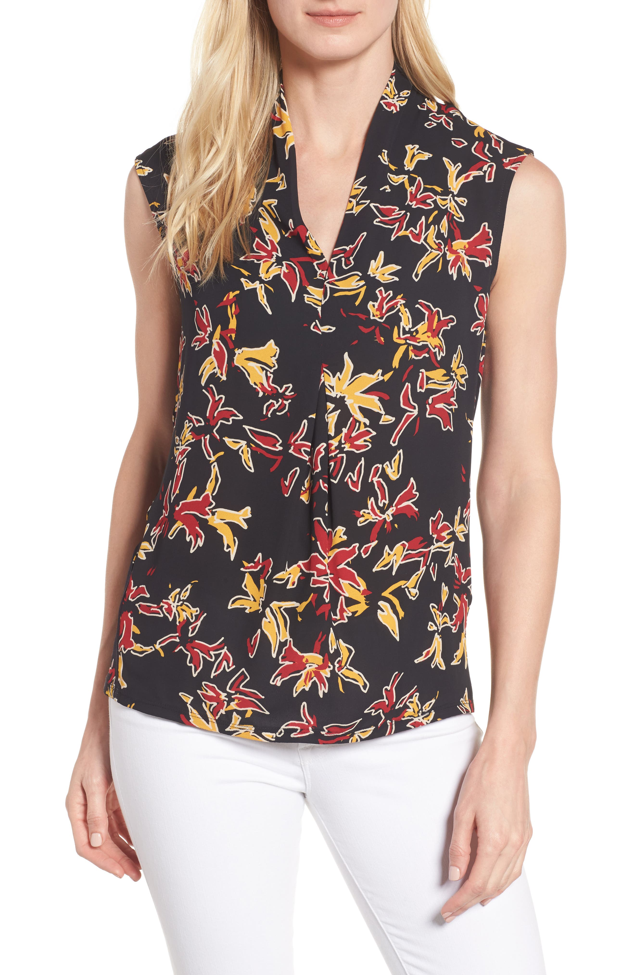Chaus Print Pleat Front Top