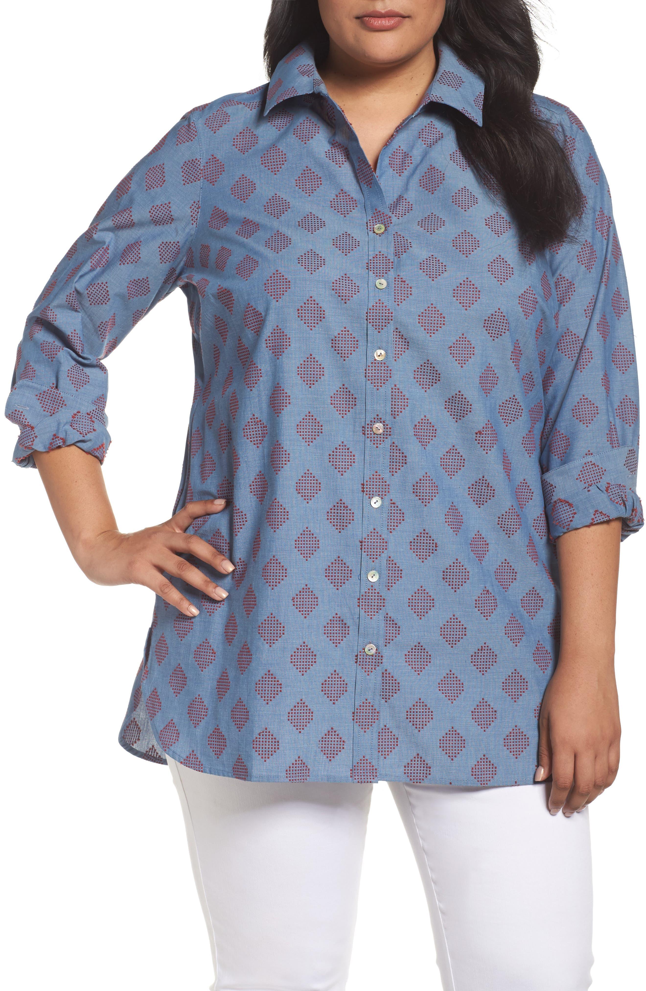 Foxcroft Jade Diamond Clip Dot Jacquard Shirt (Plus Size)