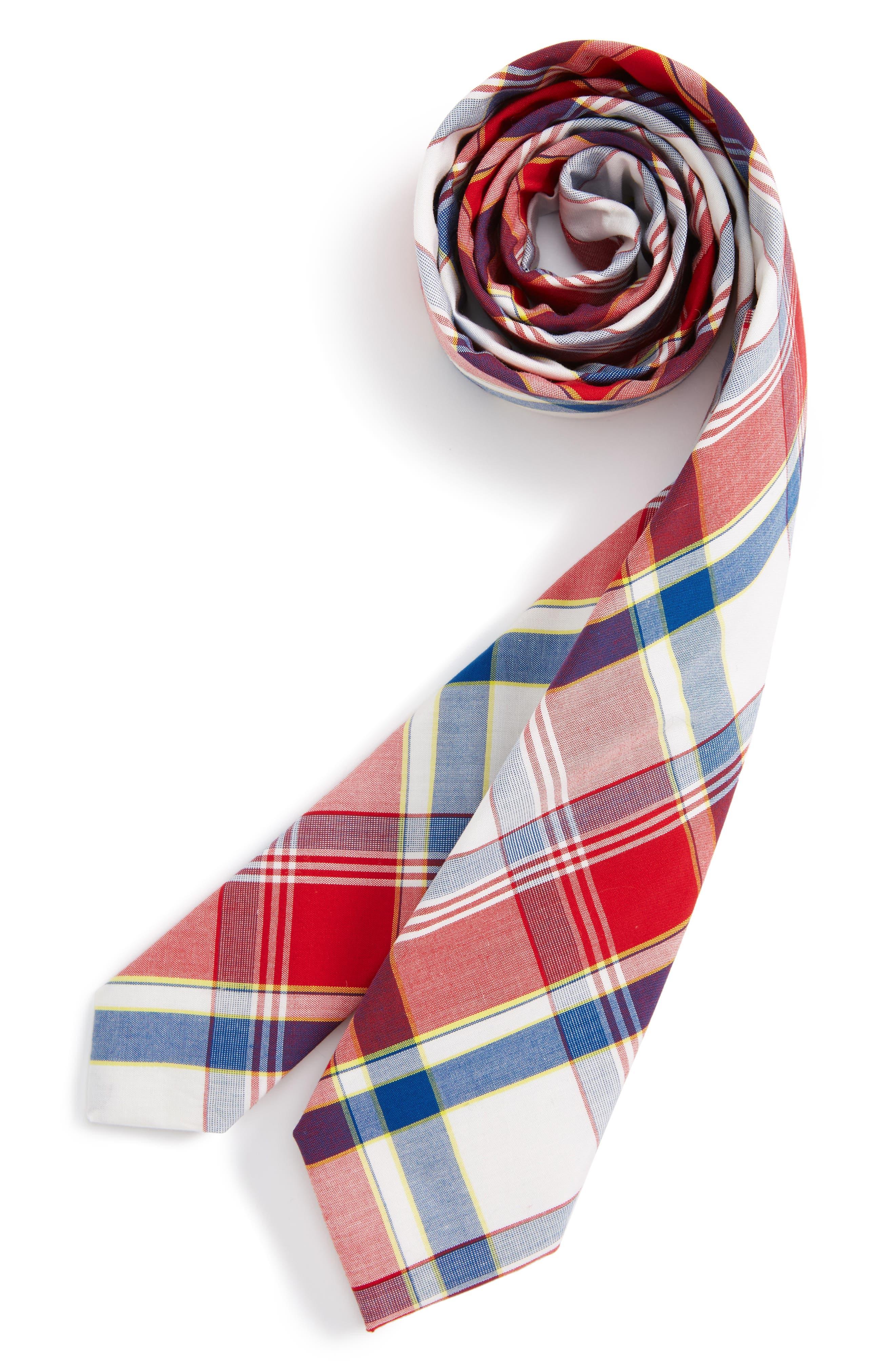 Nordstrom Plaid Cotton Tie (Big Boys)
