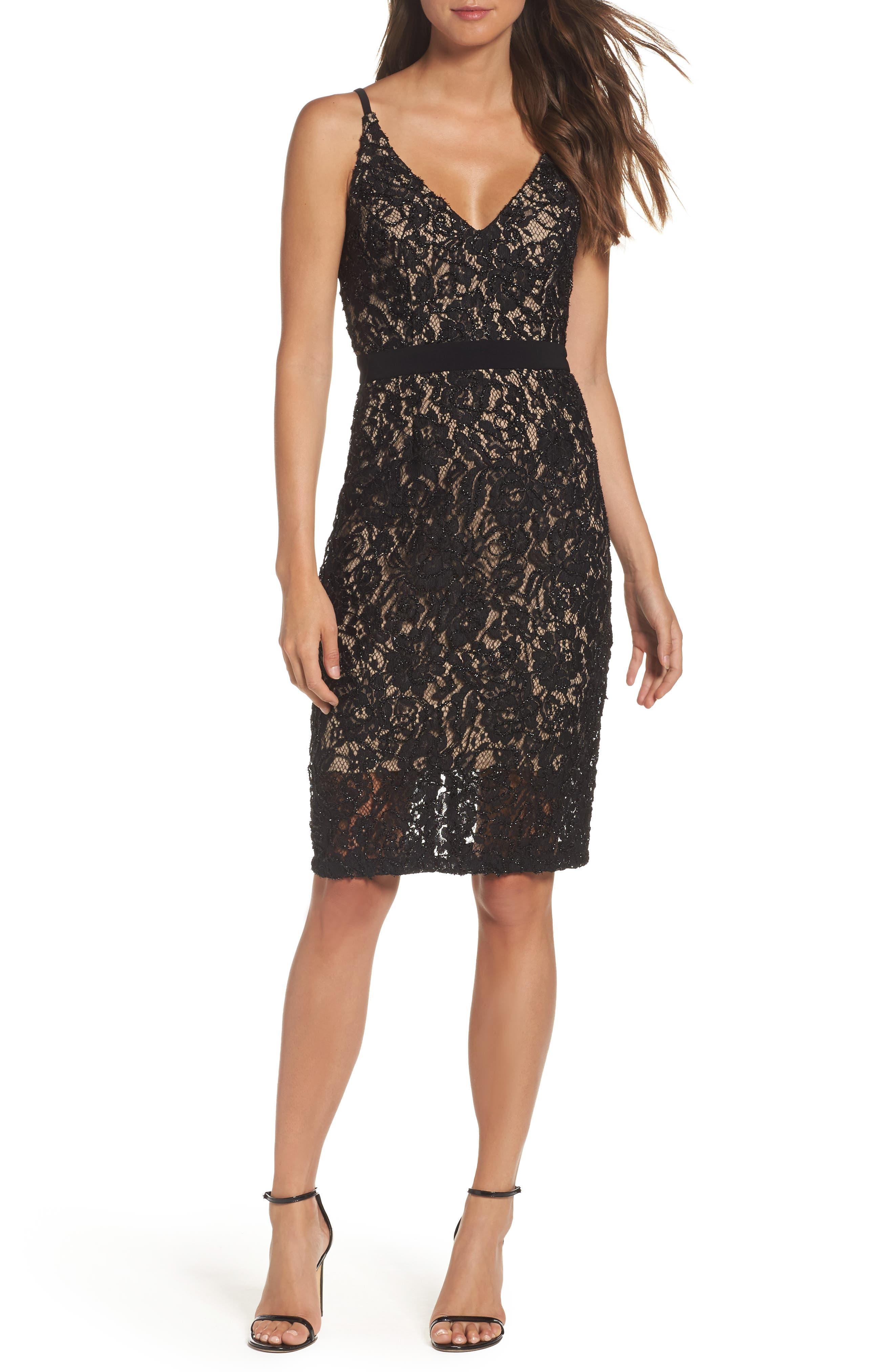 Xscape V-Neck Lace Sheath Dress