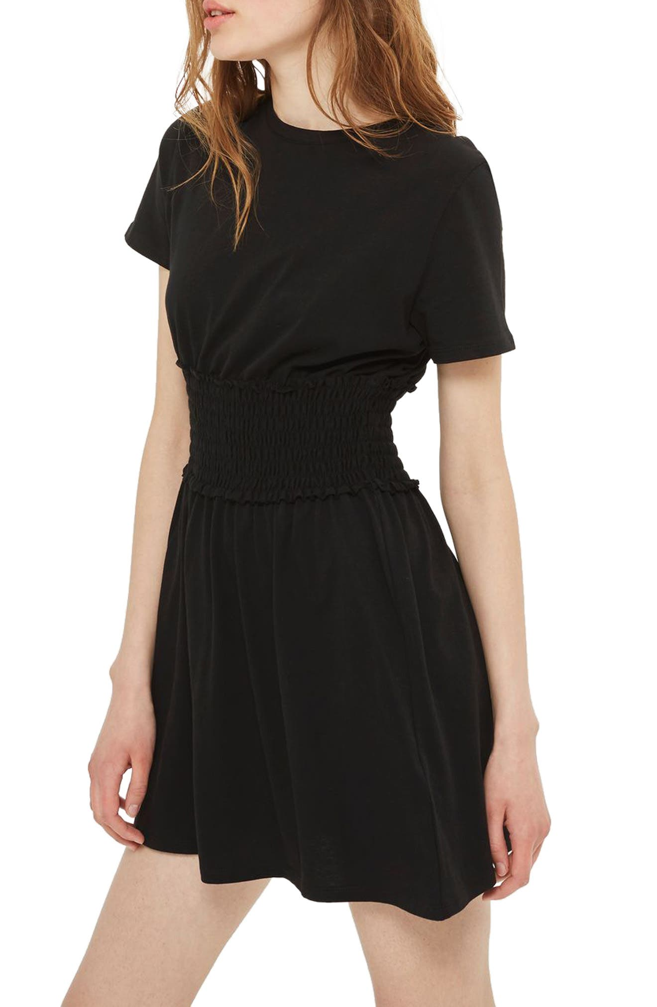 Topshop Smocked Corset T-Shirt Dress