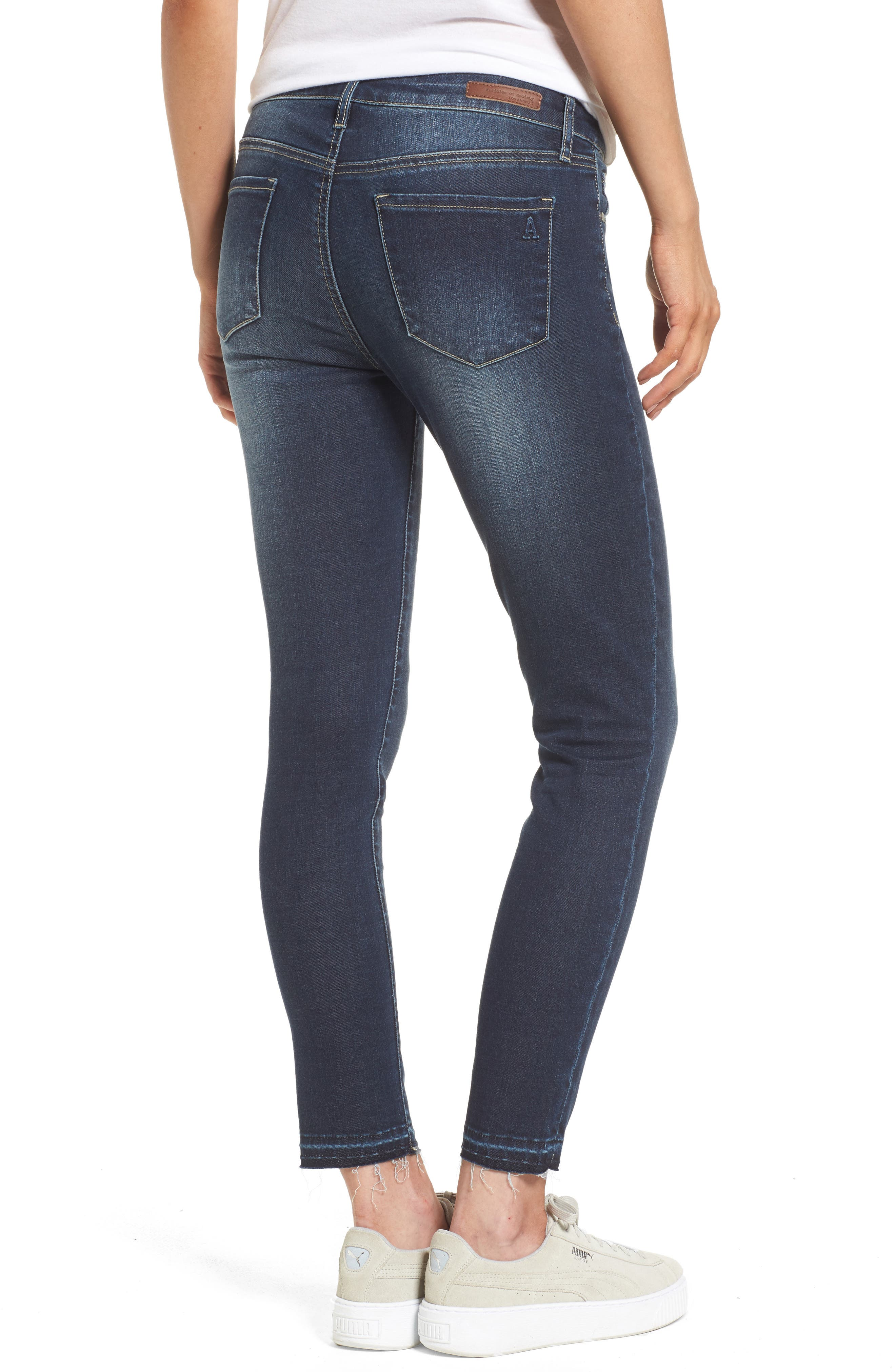 Alternate Image 2  - Articles of Society Carly Release Hem Crop Skinny Jeans (Blue Fly)