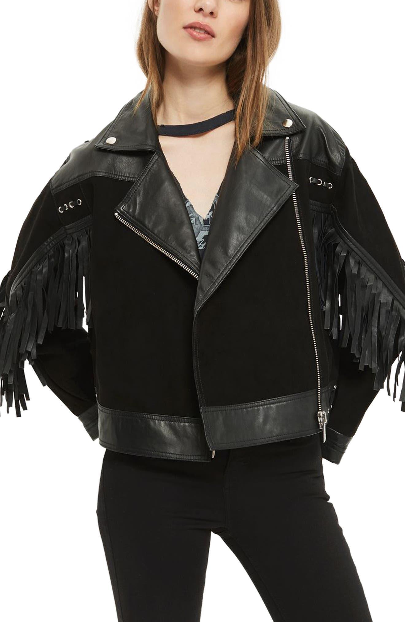 Topshop Lomax Embellished Leather Biker Jacket