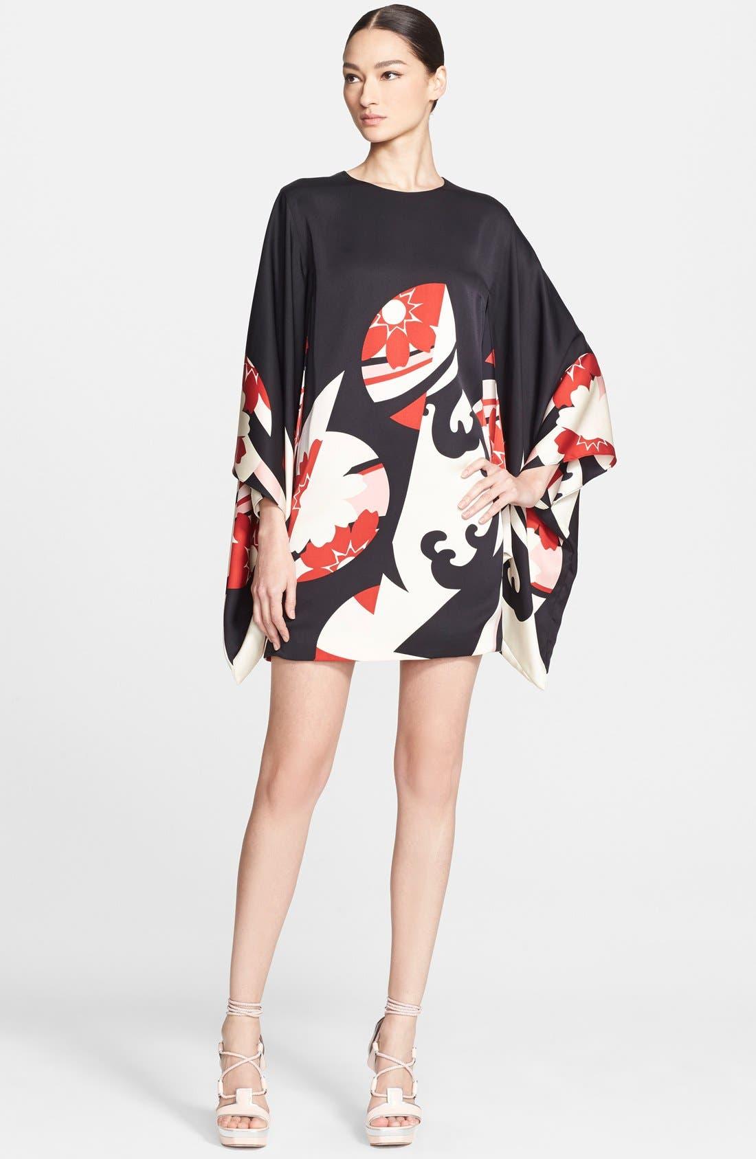 Alternate Image 1 Selected - Alexander McQueen Print Satin Caftan Dress