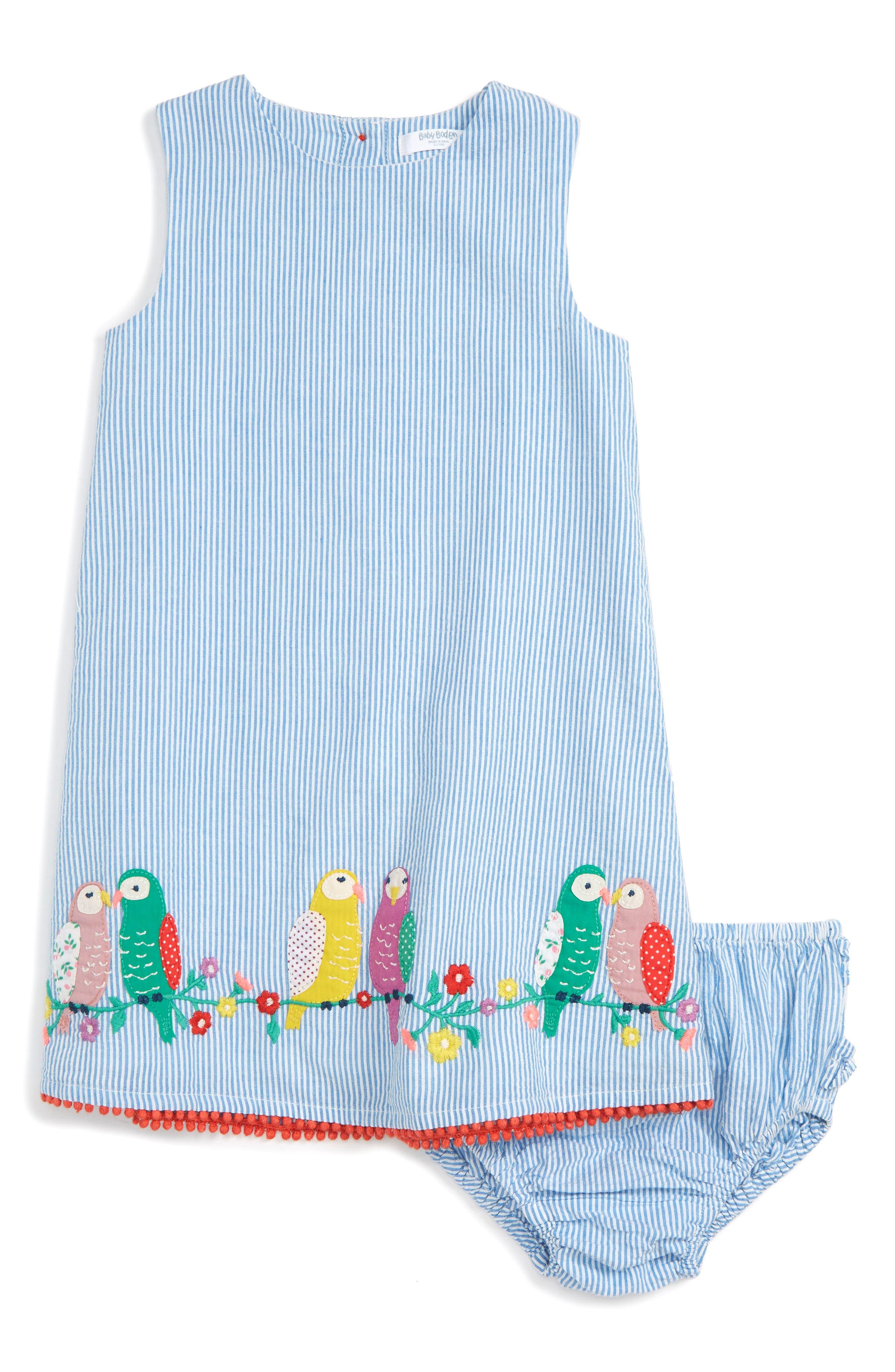 Mini Boden Appliqué Stripe Dress (Baby Girls)