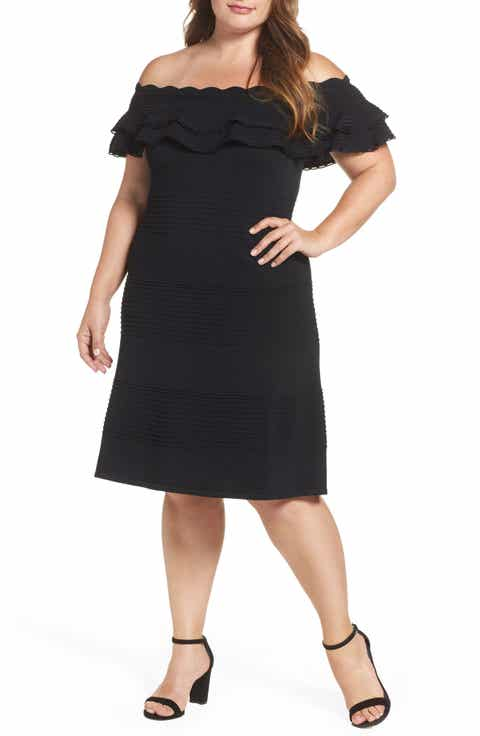 Eliza J Off the Shoulder Knit Ruffle Fit   Flare Dress (Plus Size)