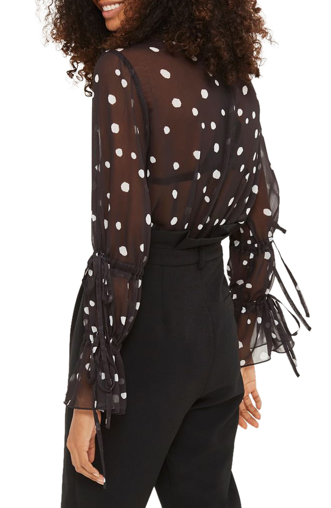 Alternate Image 2  - Topshop Drawstring Sleeve Sheer Dot Blouse