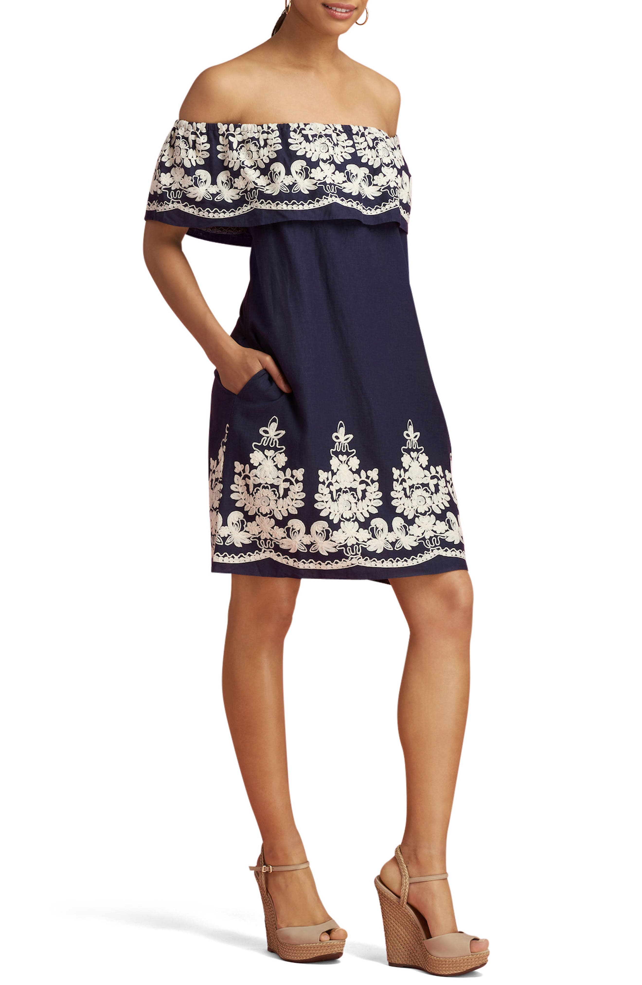 ECI Embroidered Off the Shoulder Dress