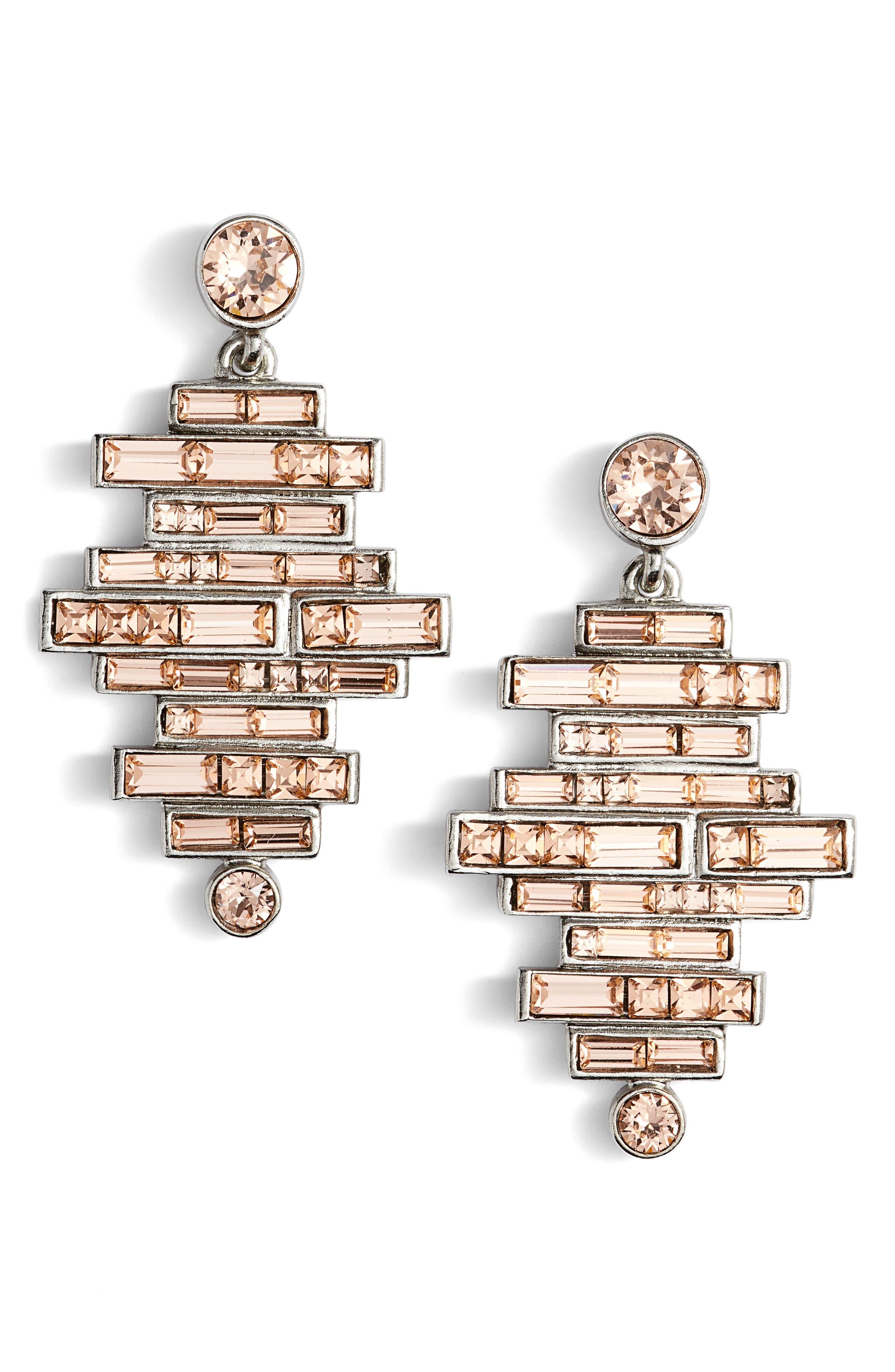 Oscar de la Renta Stacked Baguette Drop Earrings