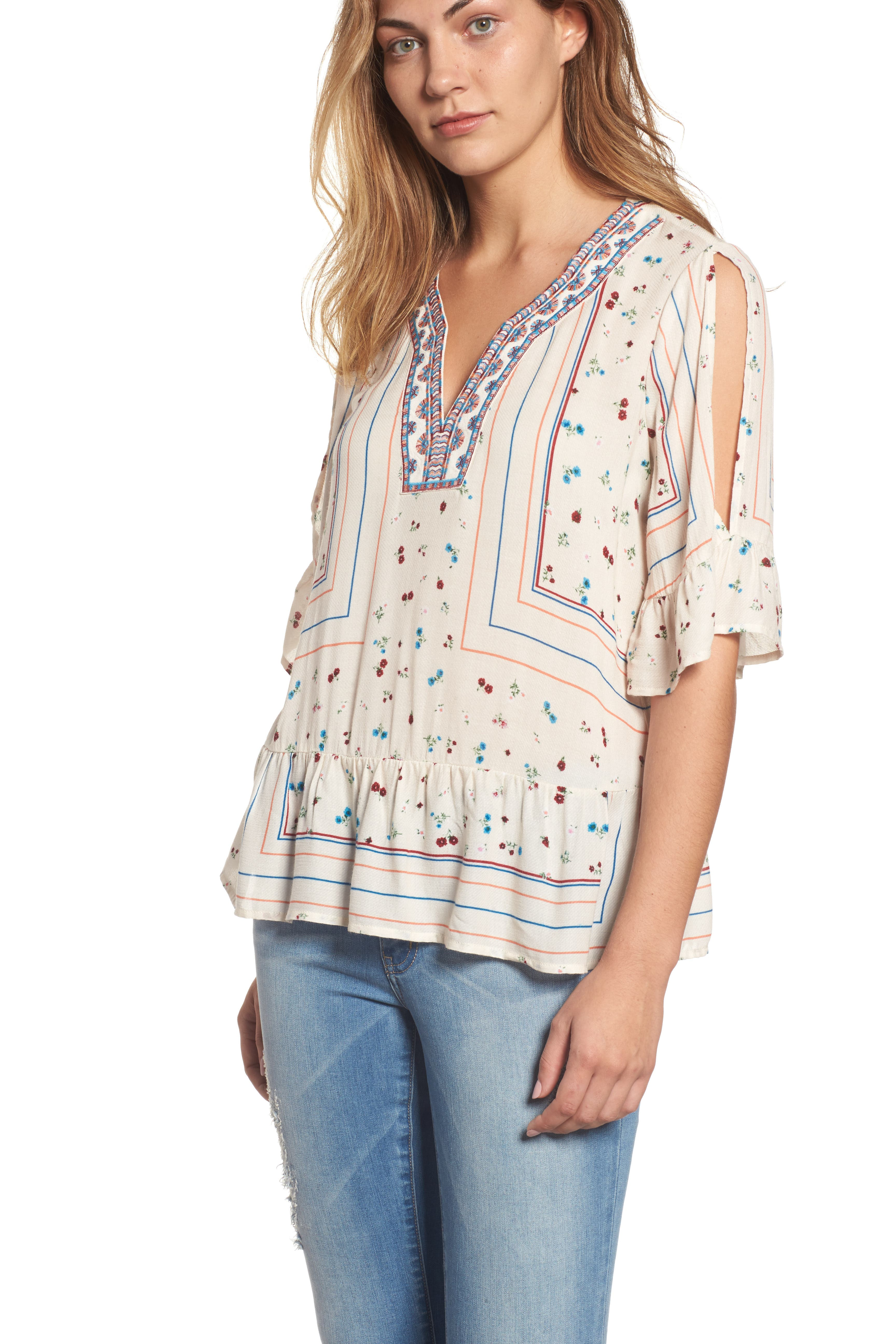 Wit & Wisdom Embroidered Cold Shoulder Top (Nordstrom Exclusive)
