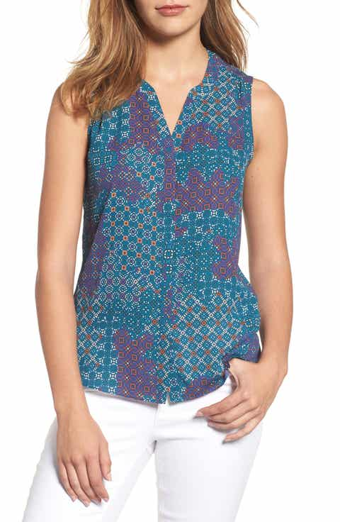 NYDJ Print Pleat Back Sleeveless Split Neck Blouse (Regular   Petite) (Nordstrom Exclusive)
