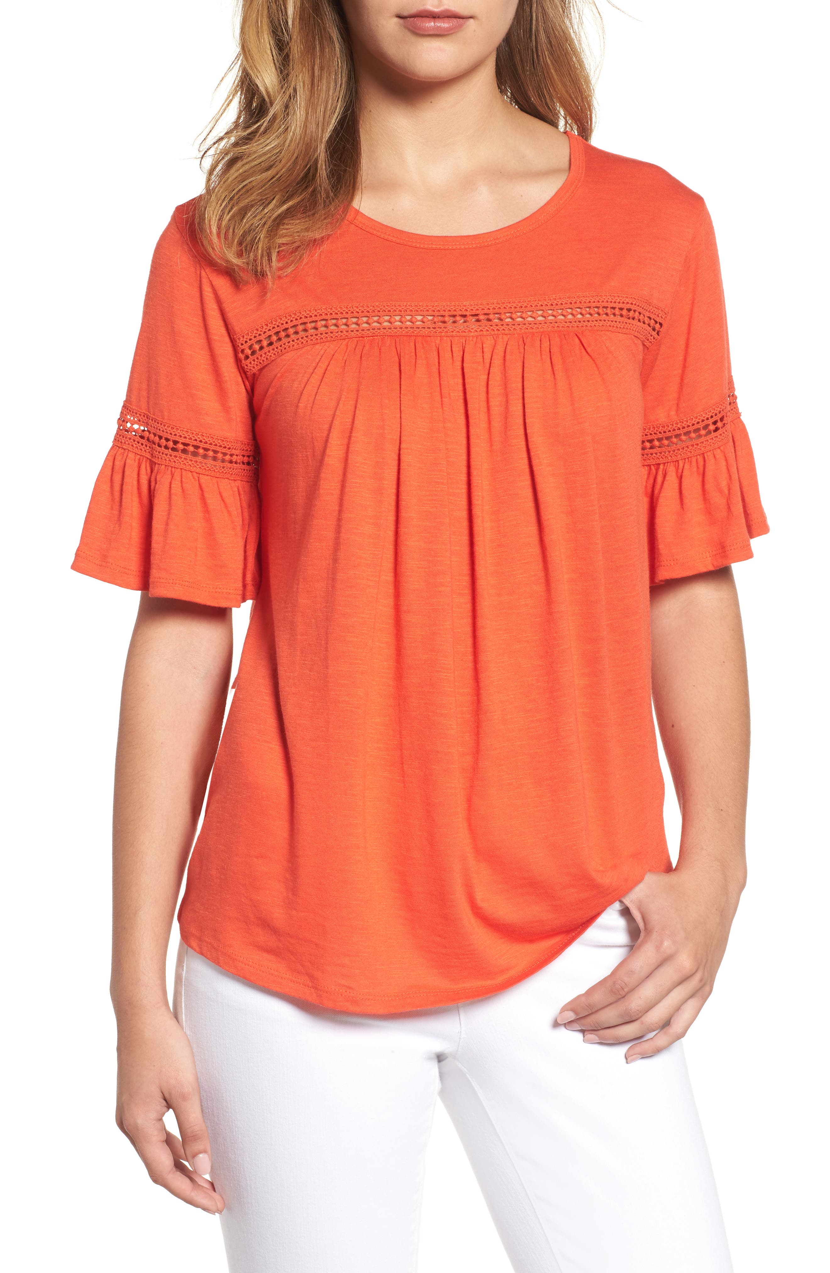 Bobeau Lace Trim Bell Sleeve Top (Regular & Petite)