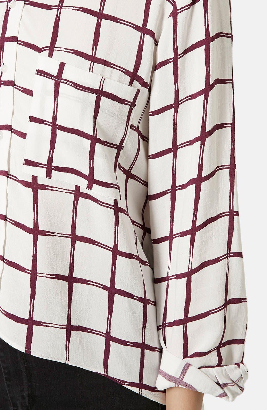 Alternate Image 4  - Topshop Windowpane Curve Hem Shirt