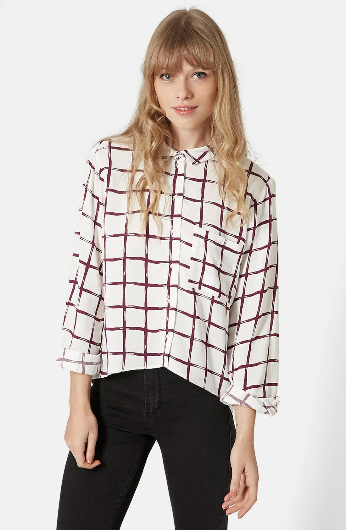 Main Image - Topshop Windowpane Curve Hem Shirt
